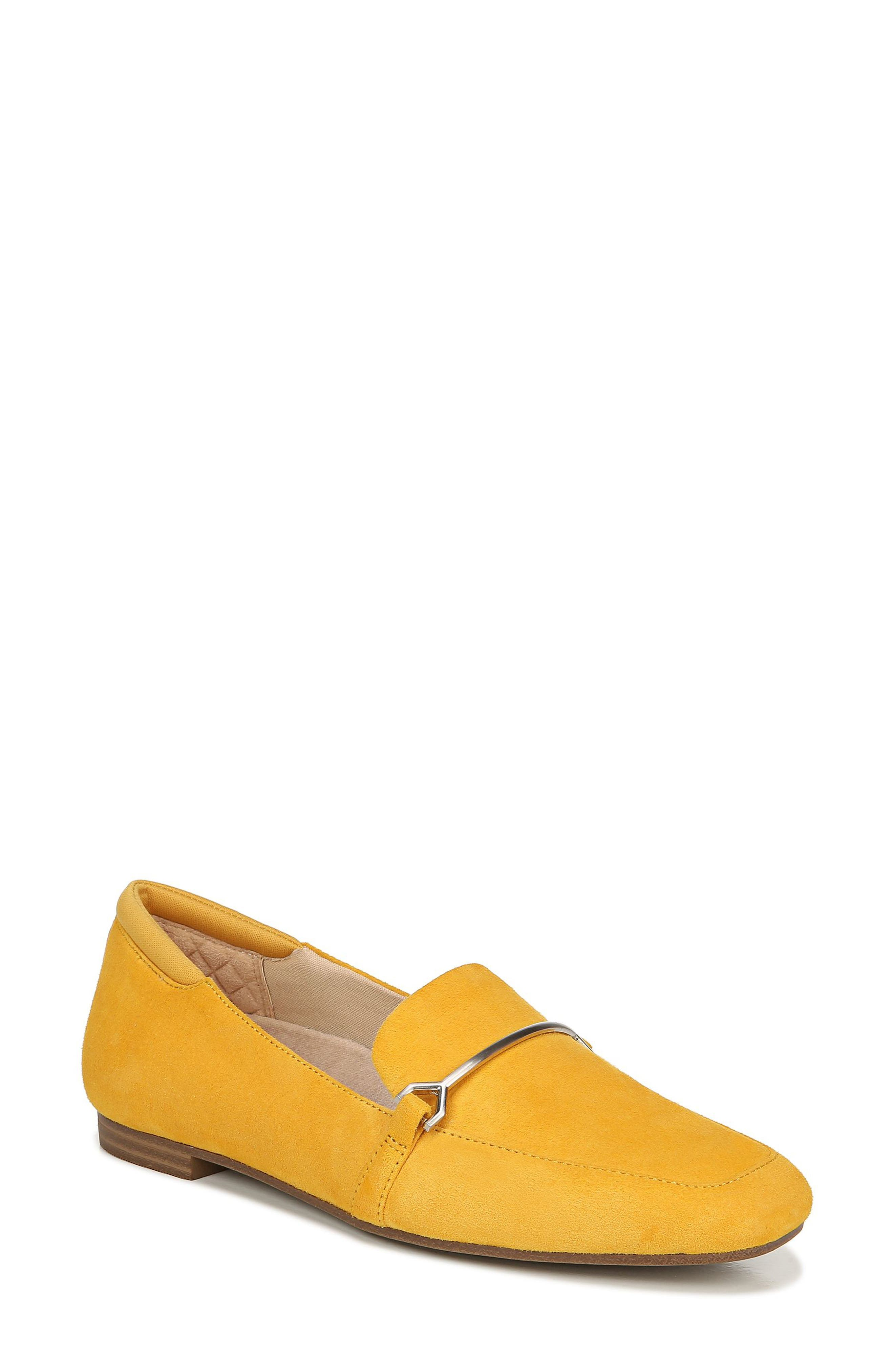 WOMANS LADIES GIRLS MUSTARD SLIP ON LOAFER SHOES