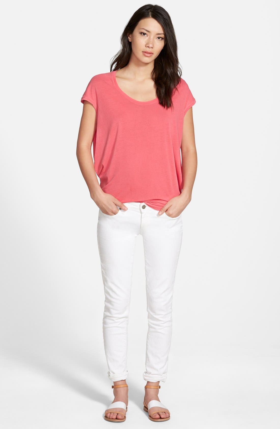 Alternate Image 4  - PAIGE 'Skyline' Skinny Jeans (Optic White)