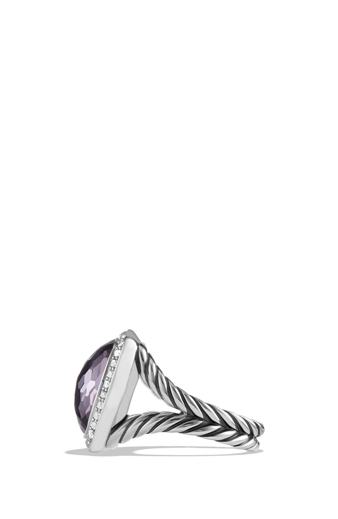 'Albion' Ring with Semiprecious Stone and Diamonds,                             Alternate thumbnail 3, color,                             Amethyst/ Hematine