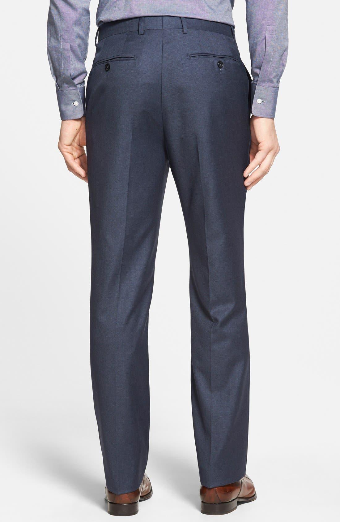 Luxury Flat Front Wool Trousers,                             Alternate thumbnail 2, color,                             Medium Blue
