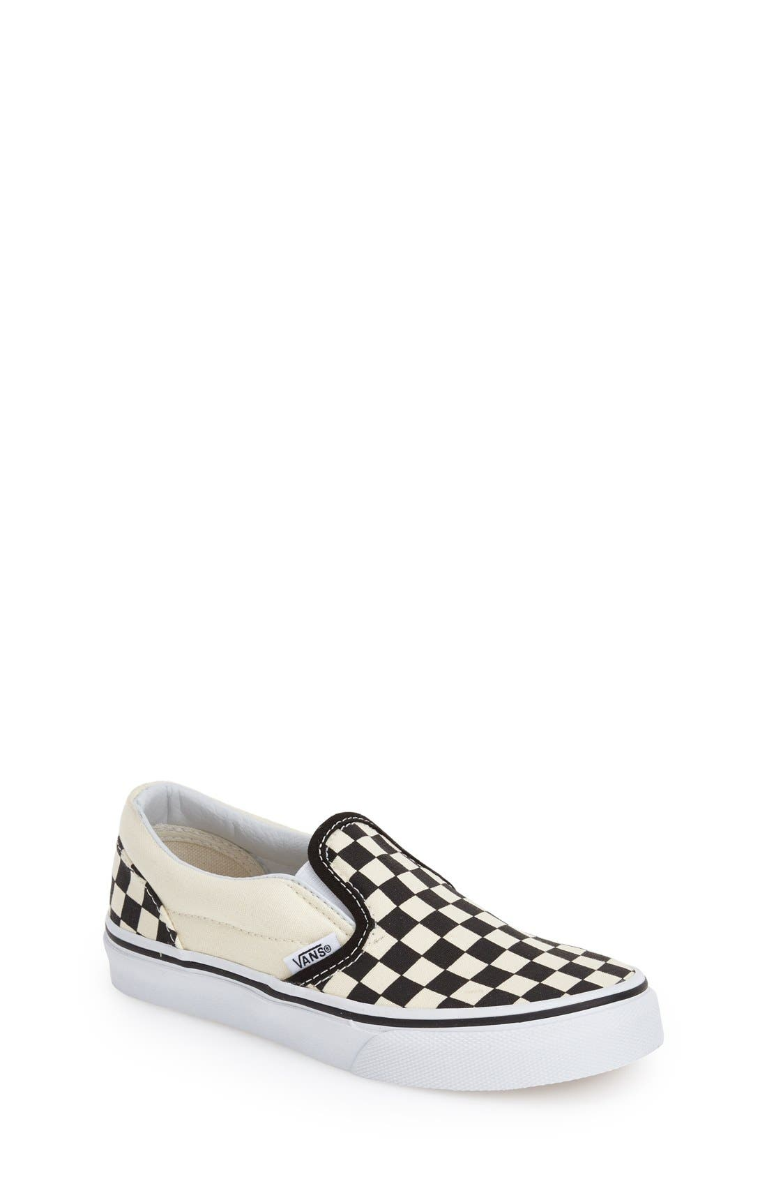 'Classic - Checker' Slip-On,                             Main thumbnail 1, color,                             Checkerboard/ Black/ White