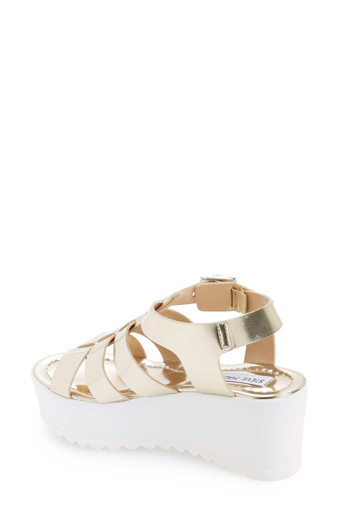 'Strangld' Gladiator Platform Sandal,                             Alternate thumbnail 2, color,                             Gold Leather