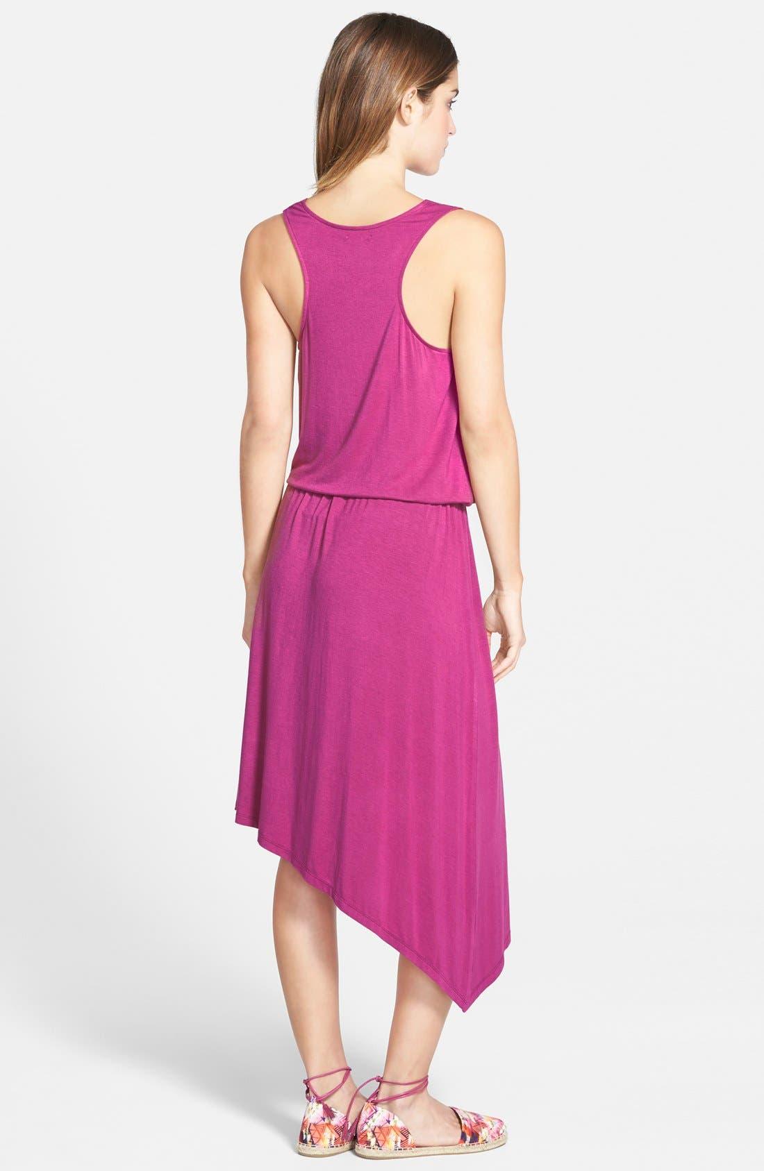 Alternate Image 2  - Halogen® Blouson Dress with Asymmetrical Hem (Regular & Petite)