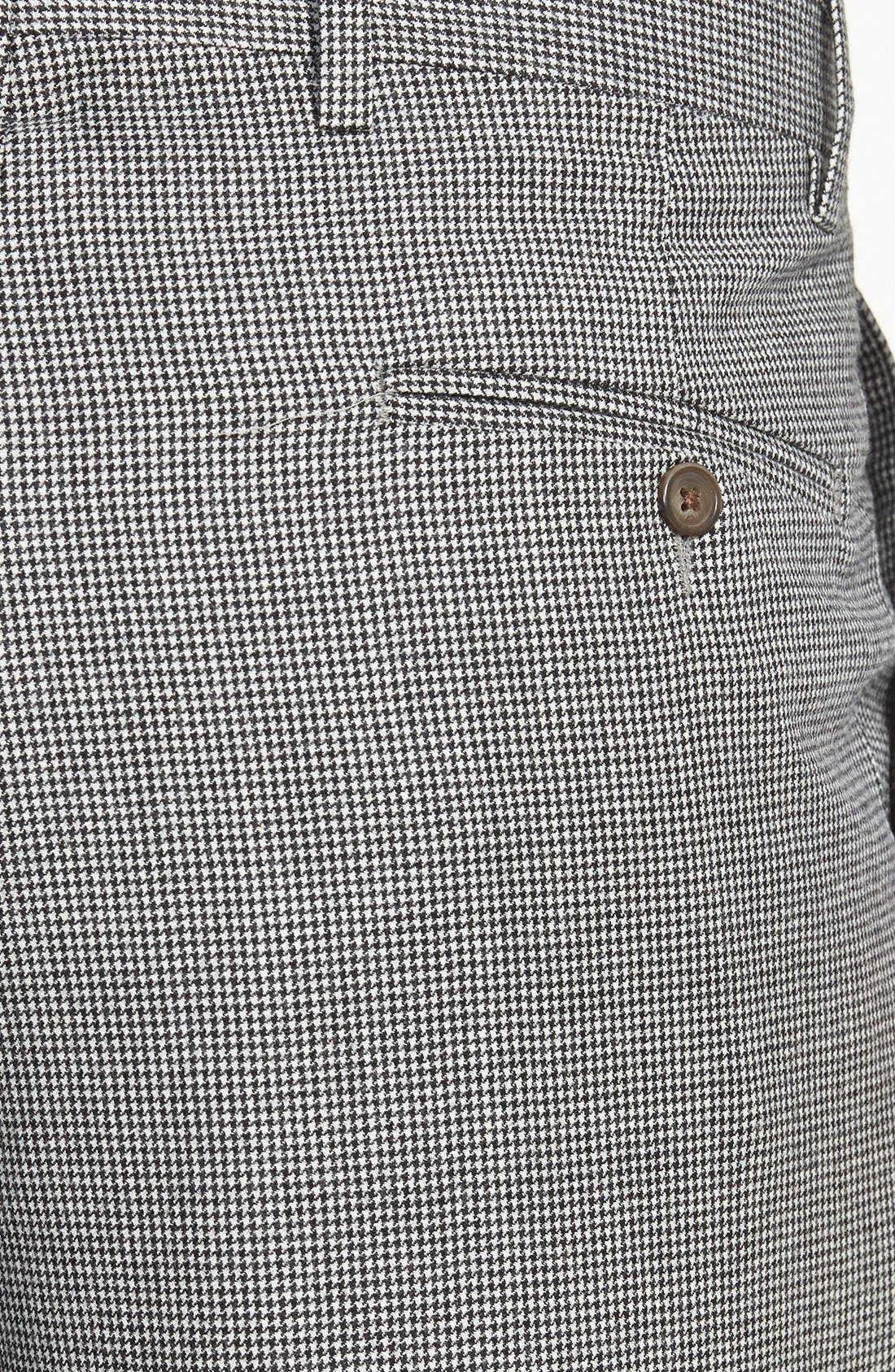 Pleated Houndstooth Wool Trousers,                             Alternate thumbnail 2, color,                             Charcoal