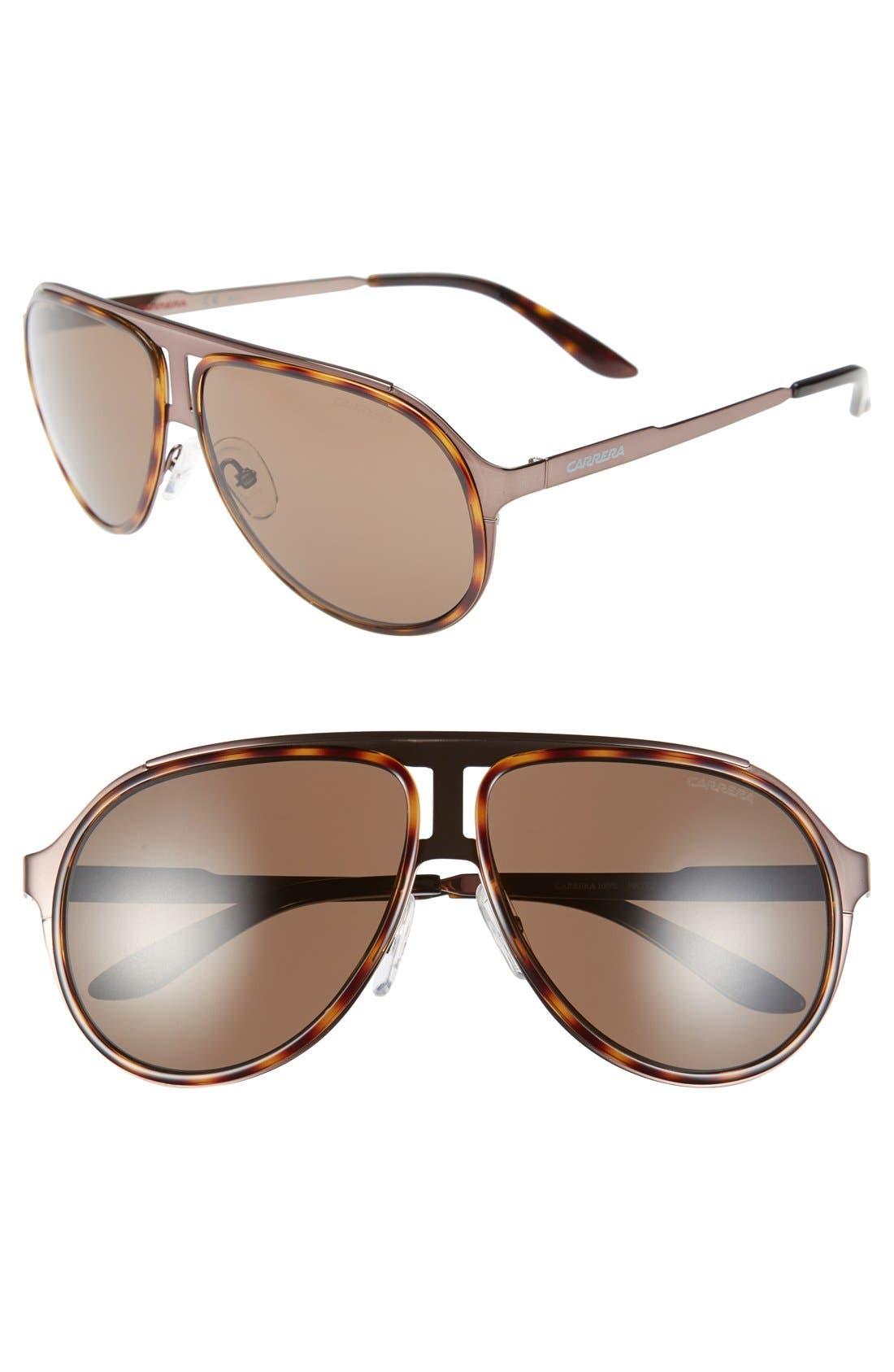 59mm Aviator Sunglasses,                             Main thumbnail 1, color,                             Brown Havana/ Brown