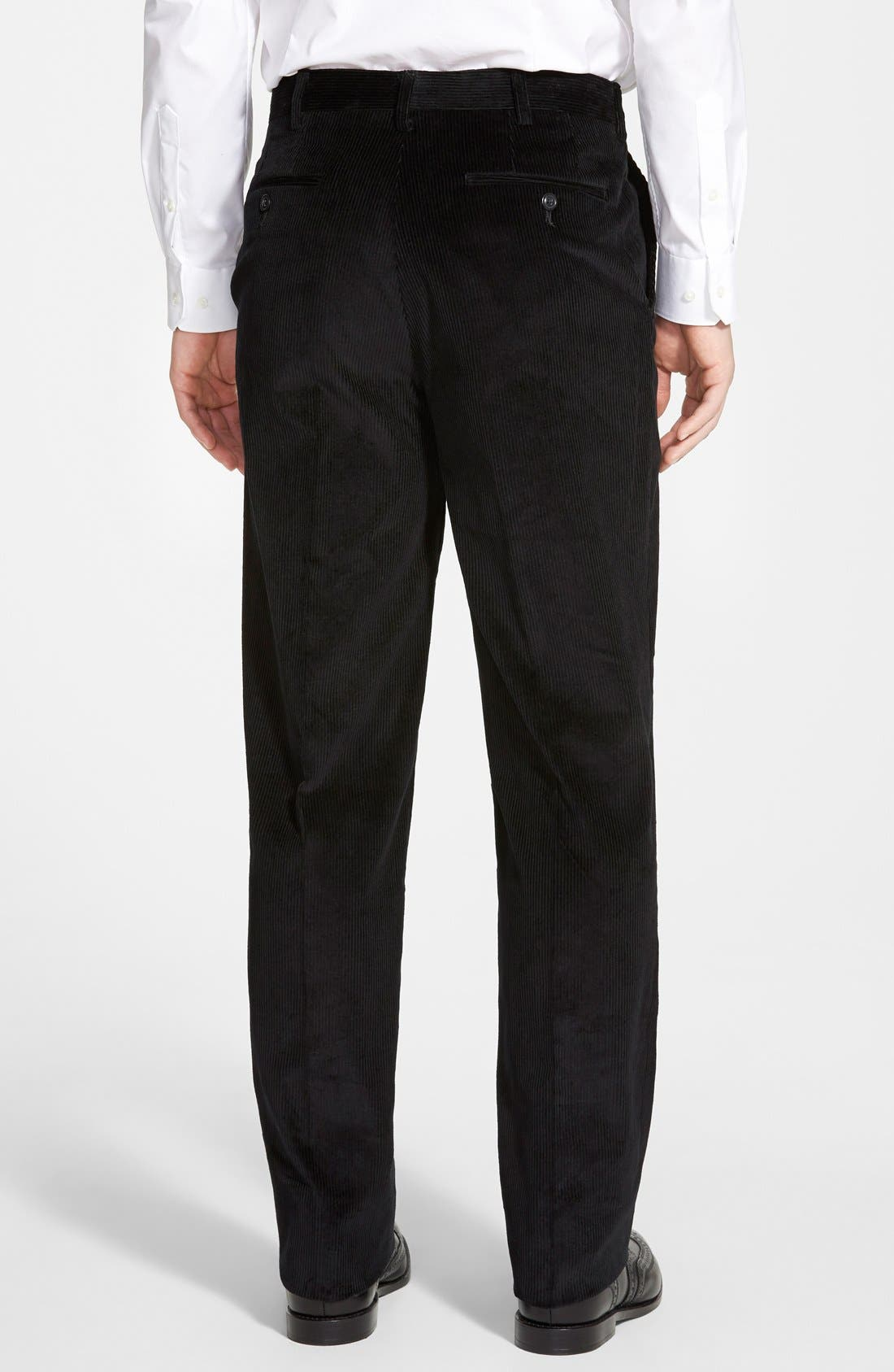 Flat Front Corduroy Trousers,                             Alternate thumbnail 2, color,                             Black