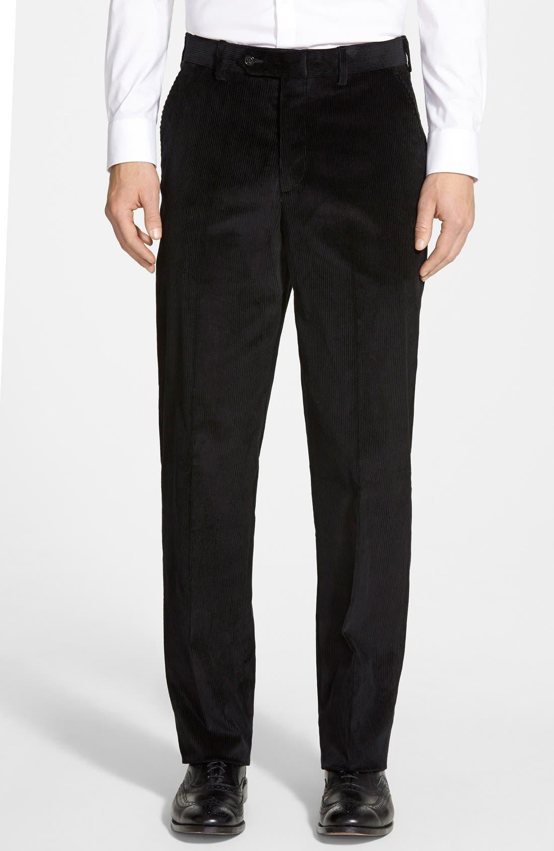 Flat Front Corduroy Trousers,                             Main thumbnail 1, color,                             Black
