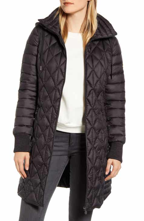 Bernardo Multi Quilt Packable Hooded Puffer Coat