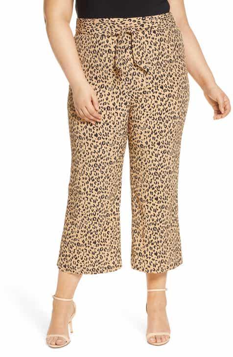 Leith Leopard Print Tie Front Crop Flare Pants (Plus Size)