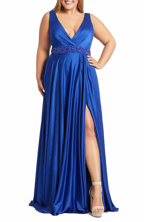 Mac Duggal Beaded Faux Wrap Gown (Plus Size)