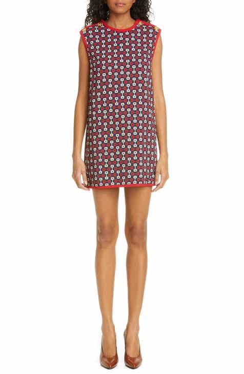 Gucci Horsebit Print Stretch Cady Shift Tunic Dress