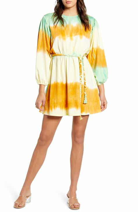 MOON RIVER Dip Dye Long Sleeve Minidress