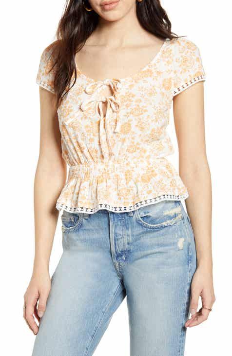 MINKPINK Kiss the Stars Floral Tie Neck Cotton Top