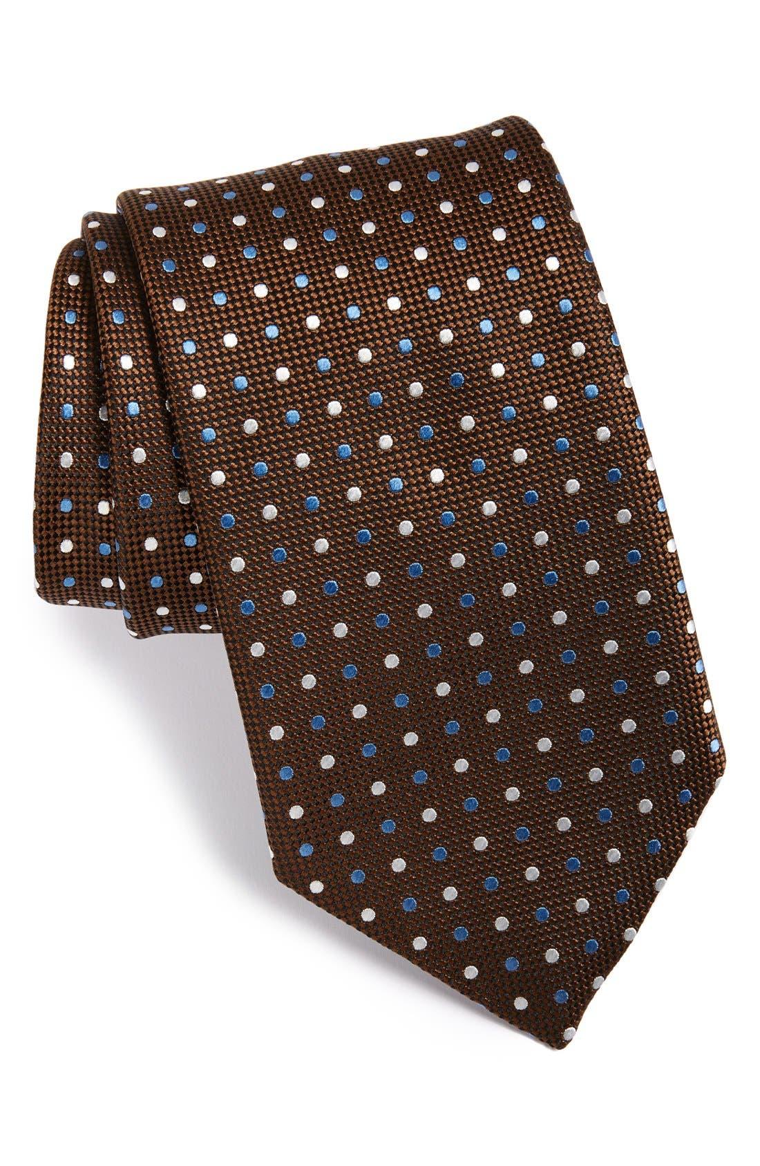 Dot Print Silk Tie,                         Main,                         color, Brown