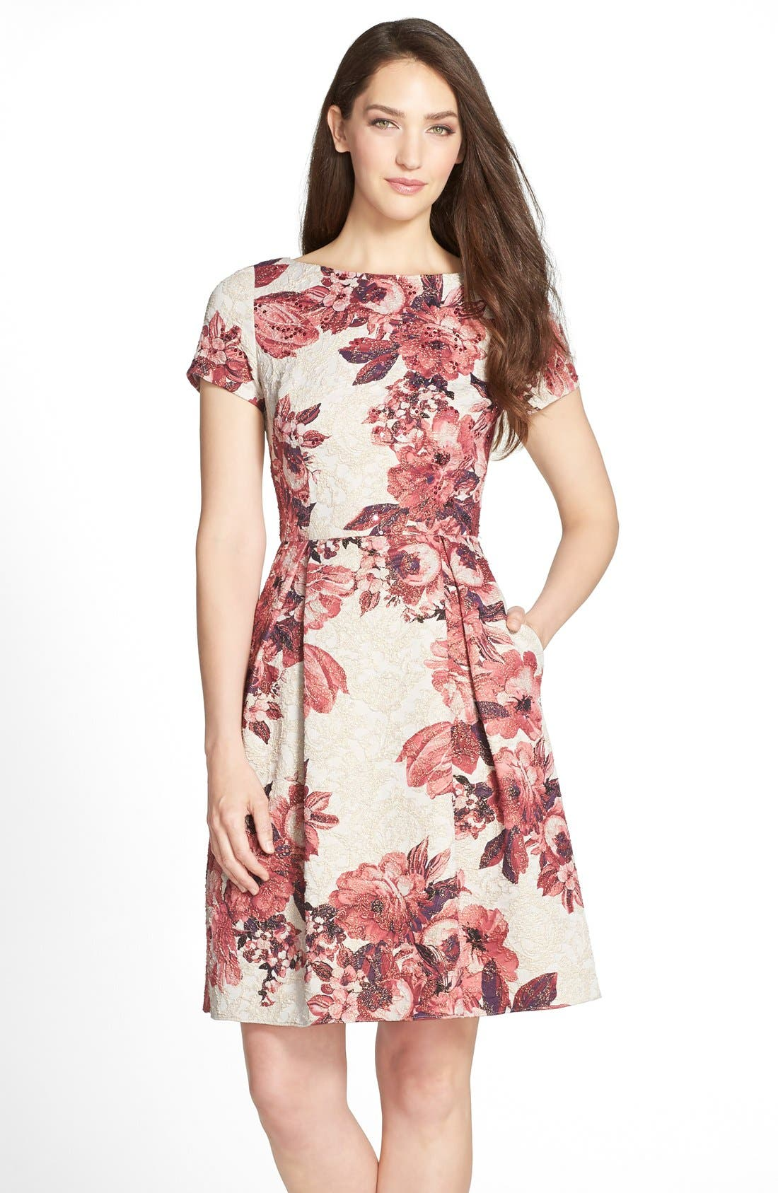 Main Image - Adrianna Papell Floral Matelassé Fit & Flare Dress (Regular & Petite)