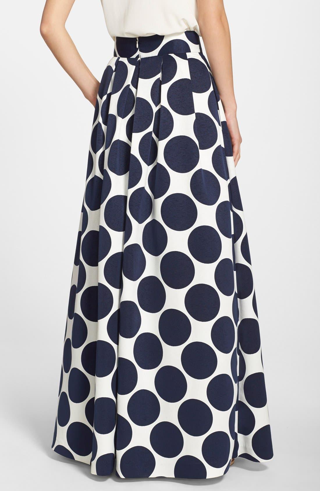 Pleated Dot Print Ball Skirt,                             Alternate thumbnail 2, color,                             Navy/ Ivory