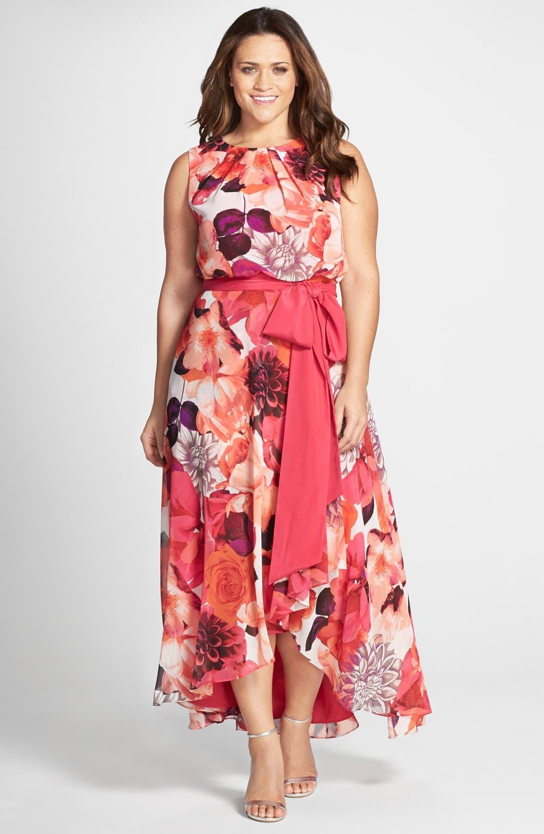Eliza J Floral Print Sash Tie Sleeveless High Low Hem Maxi