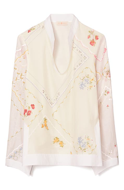 토리버치 Tory Burch Embroidered Handkerchief Cotton & Silk Tunic Top,new ivory