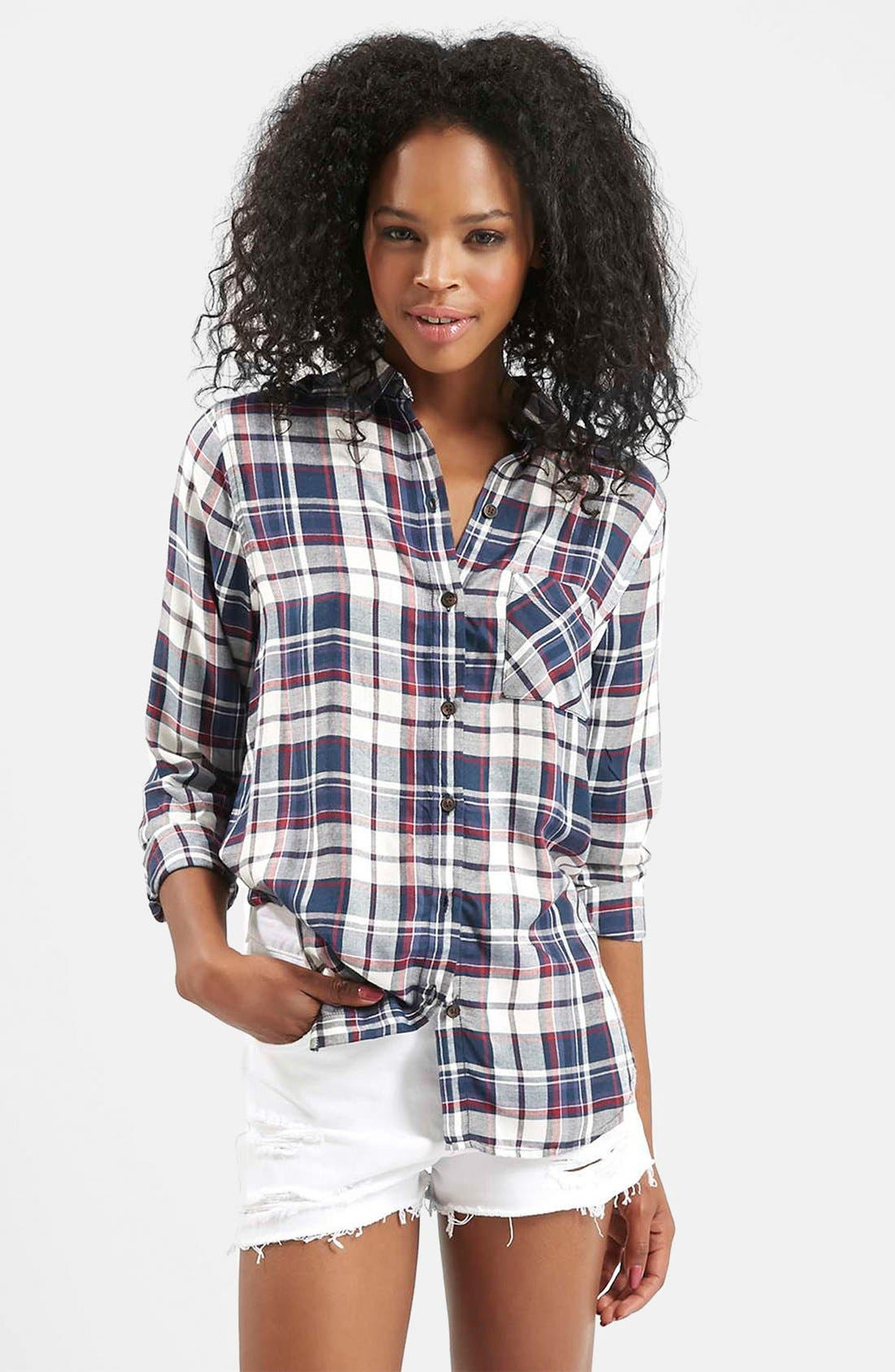 Main Image - Topshop 'Ali' Check Button Front Shirt
