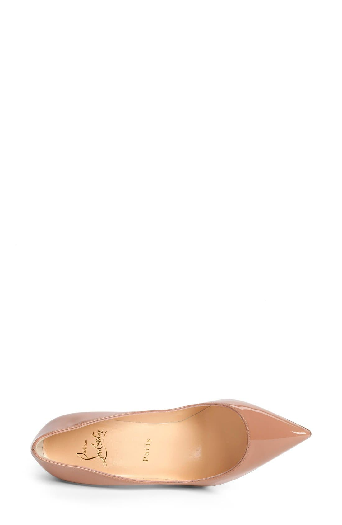 CHRISTIAN LOUBOUTIN Pigalle Follies Patent Pointed-Toe Red Sole Pump, Nude Patent