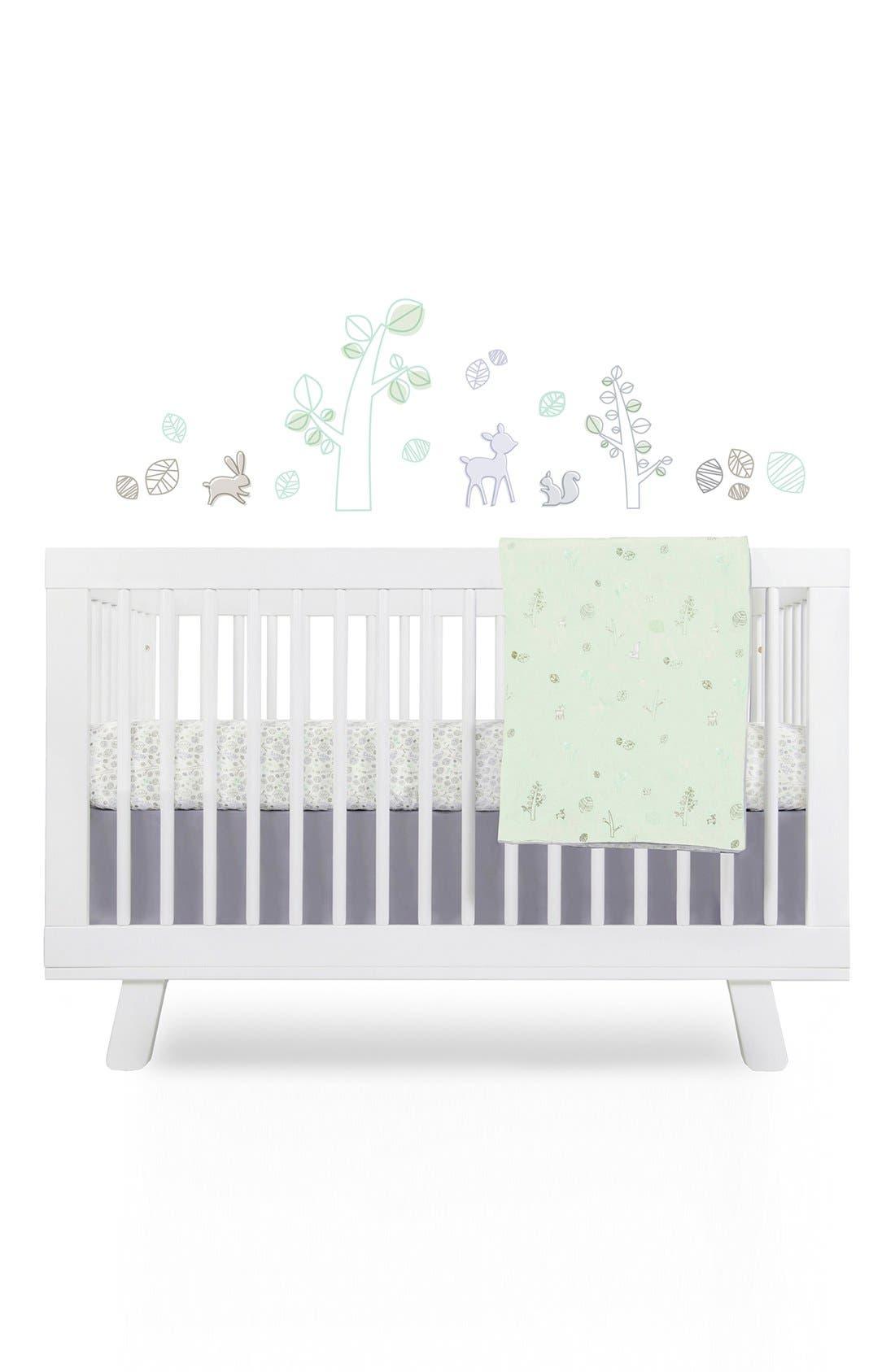 'Woods' Crib Sheet, Crib Skirt, Contour Changing Pad, Play Blanket & Wall Decals,                             Main thumbnail 1, color,                             Green