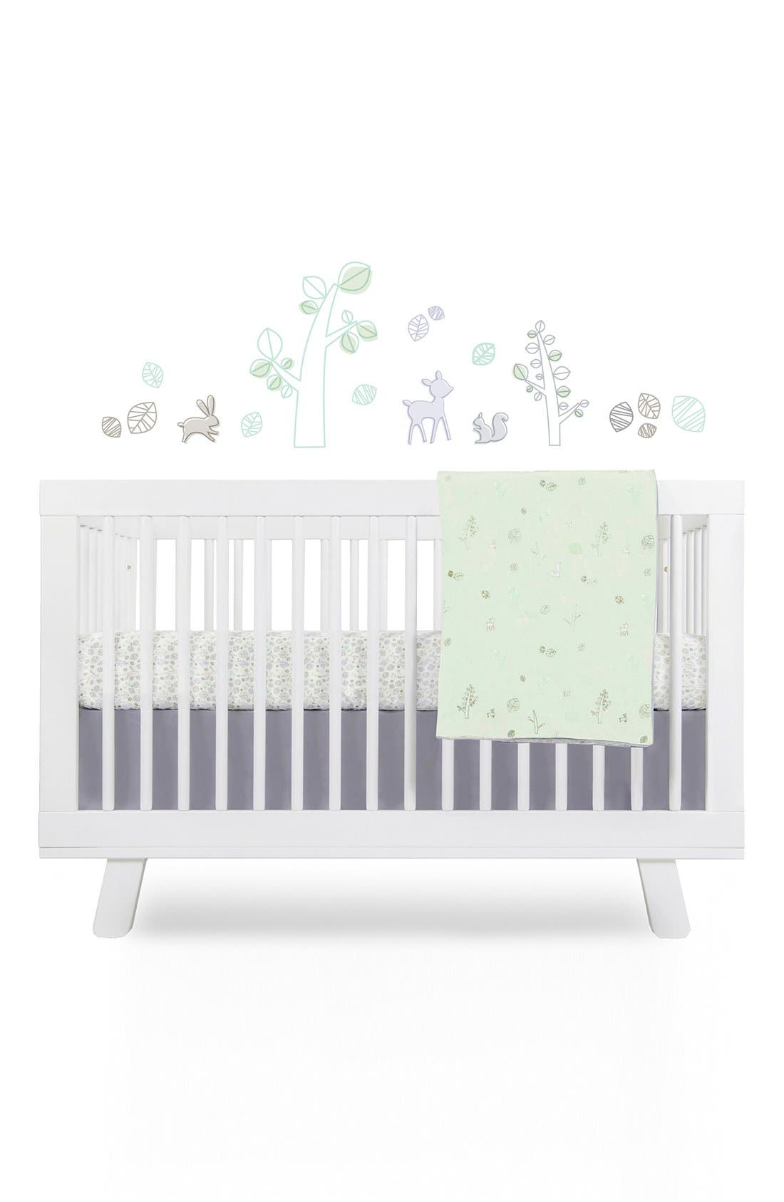 Main Image - babyletto 'Woods' Crib Sheet, Crib Skirt, Contour Changing Pad, Play Blanket & Wall Decals