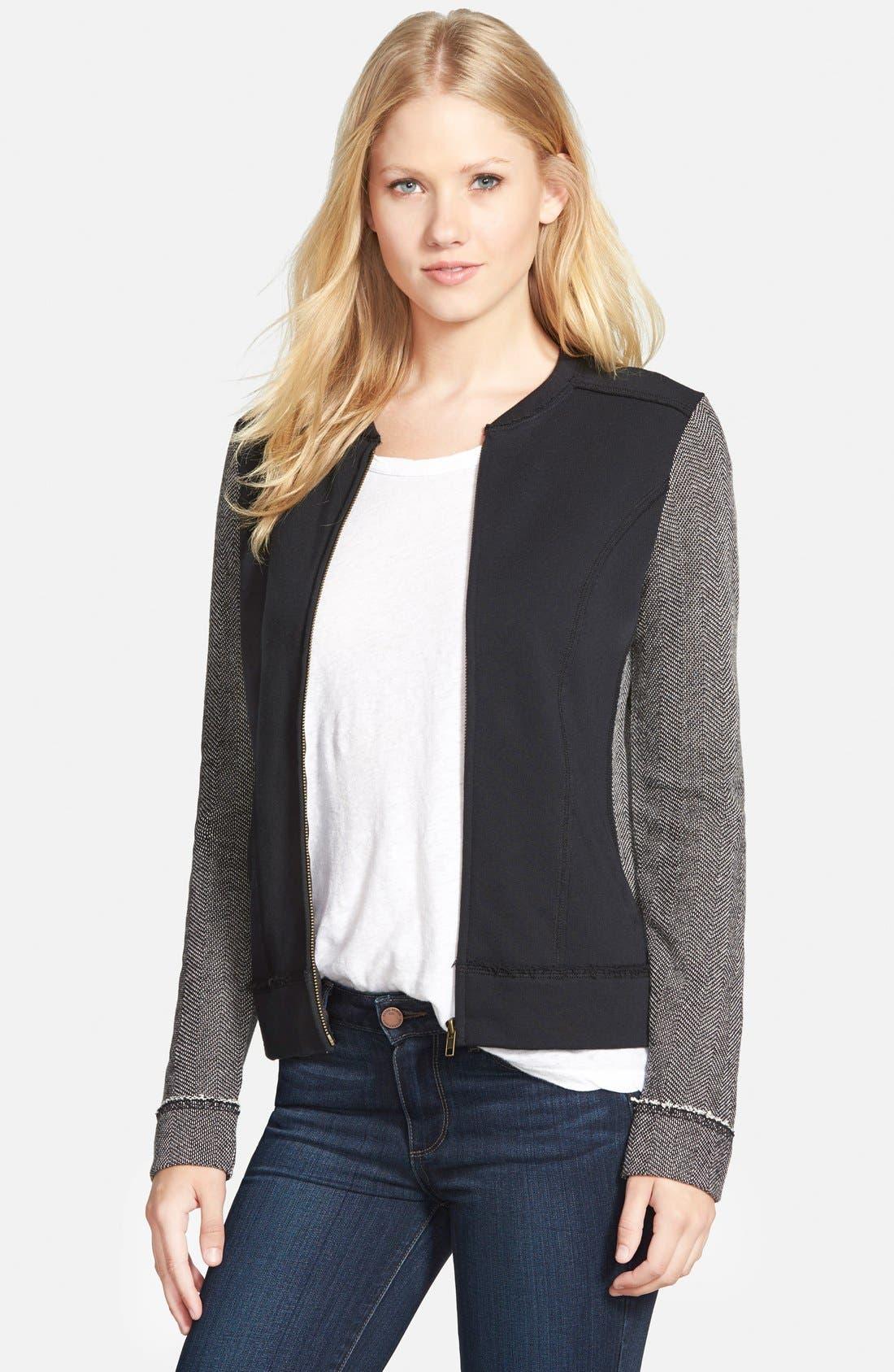 Alternate Image 1 Selected - Caslon® Mixed Knit Bomber Jacket