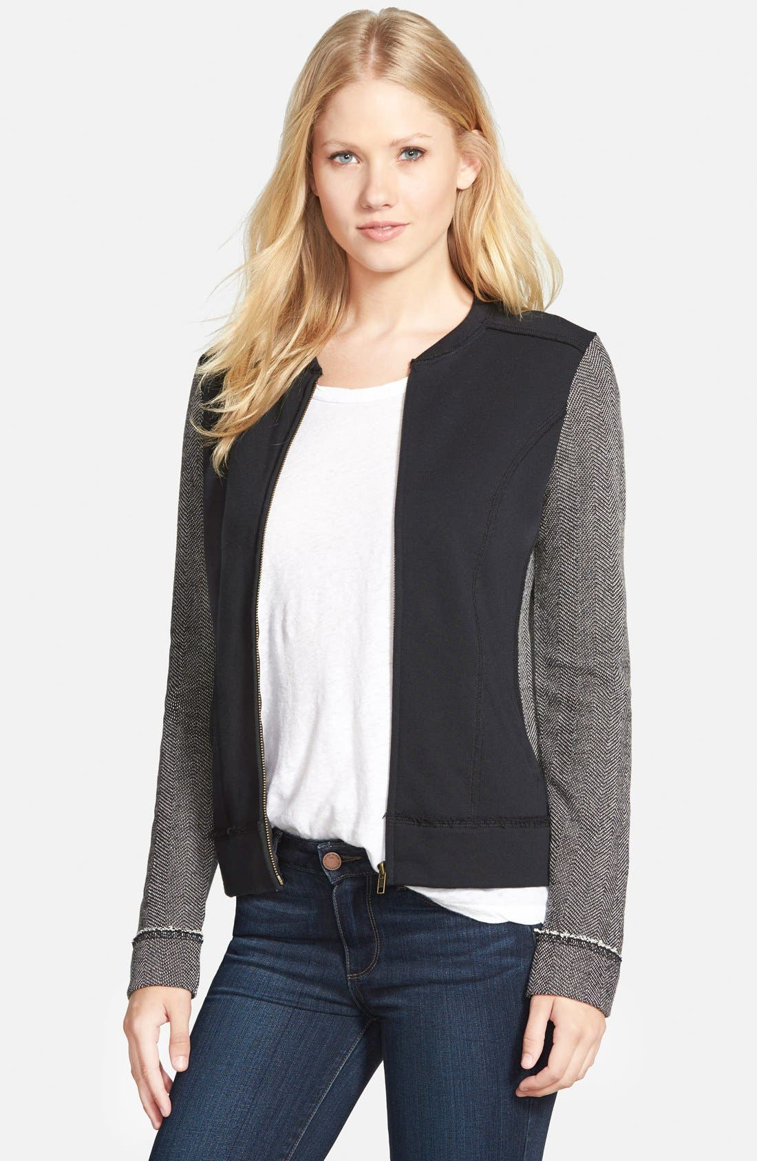 Main Image - Caslon® Mixed Knit Bomber Jacket