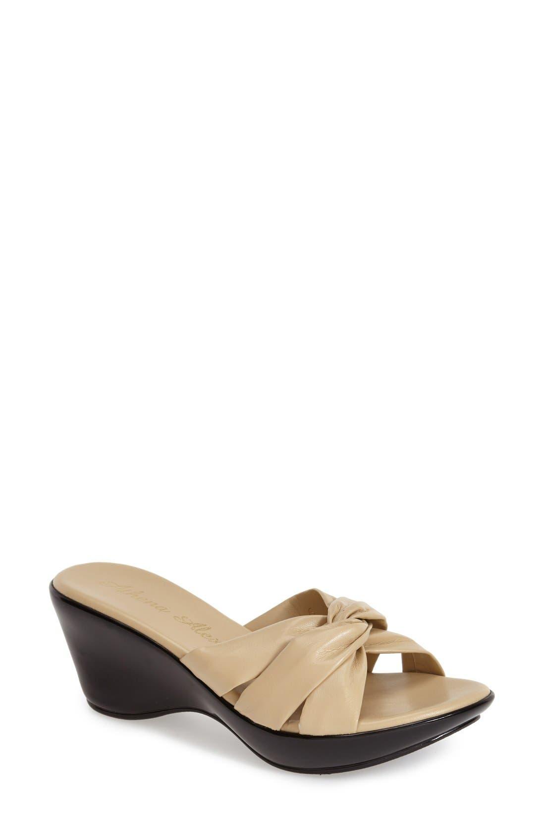 'Gayle' Slide,                         Main,                         color, Camel Leather