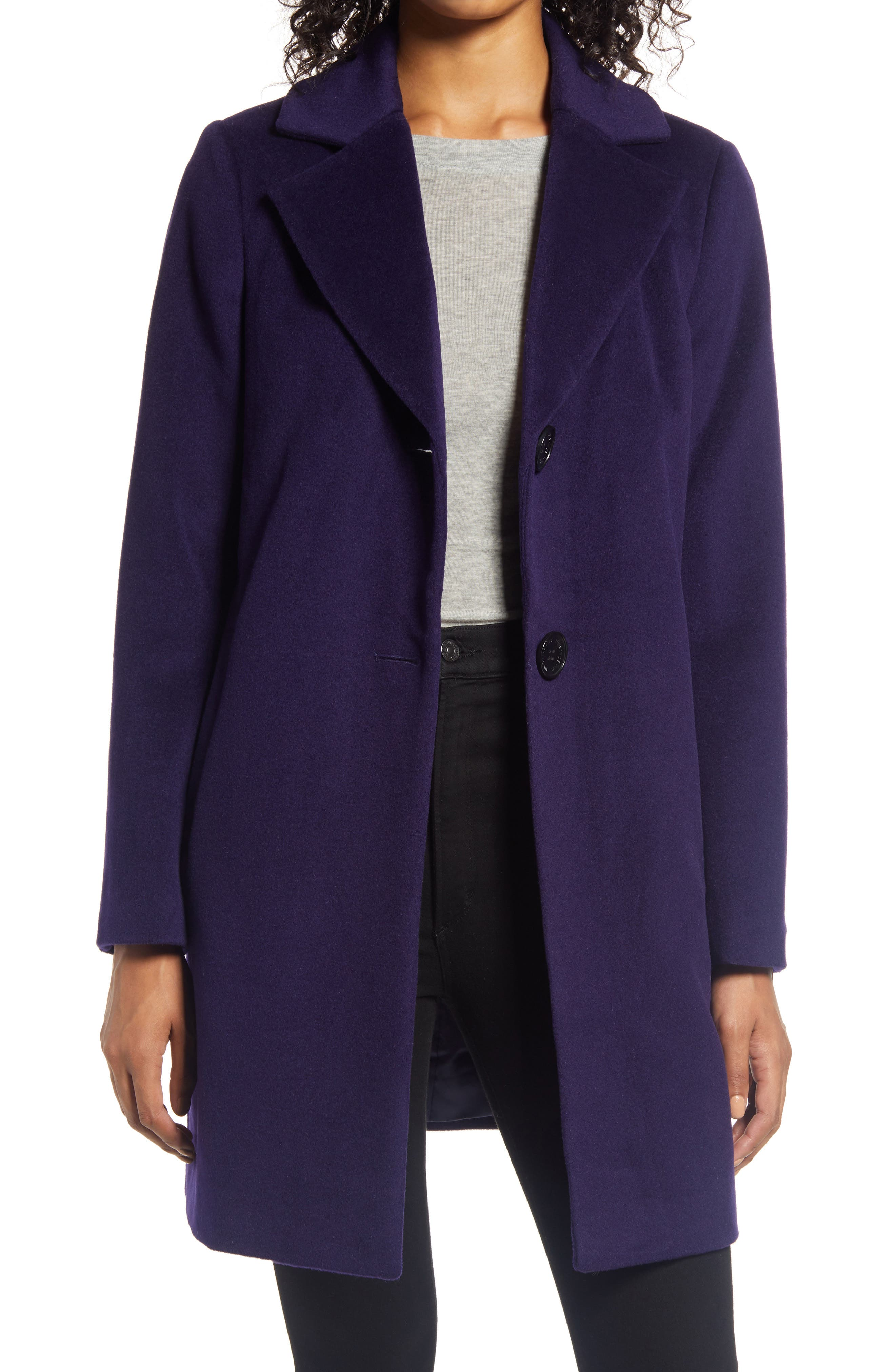 Women/'s wool walk jacket navy blue with dots on red