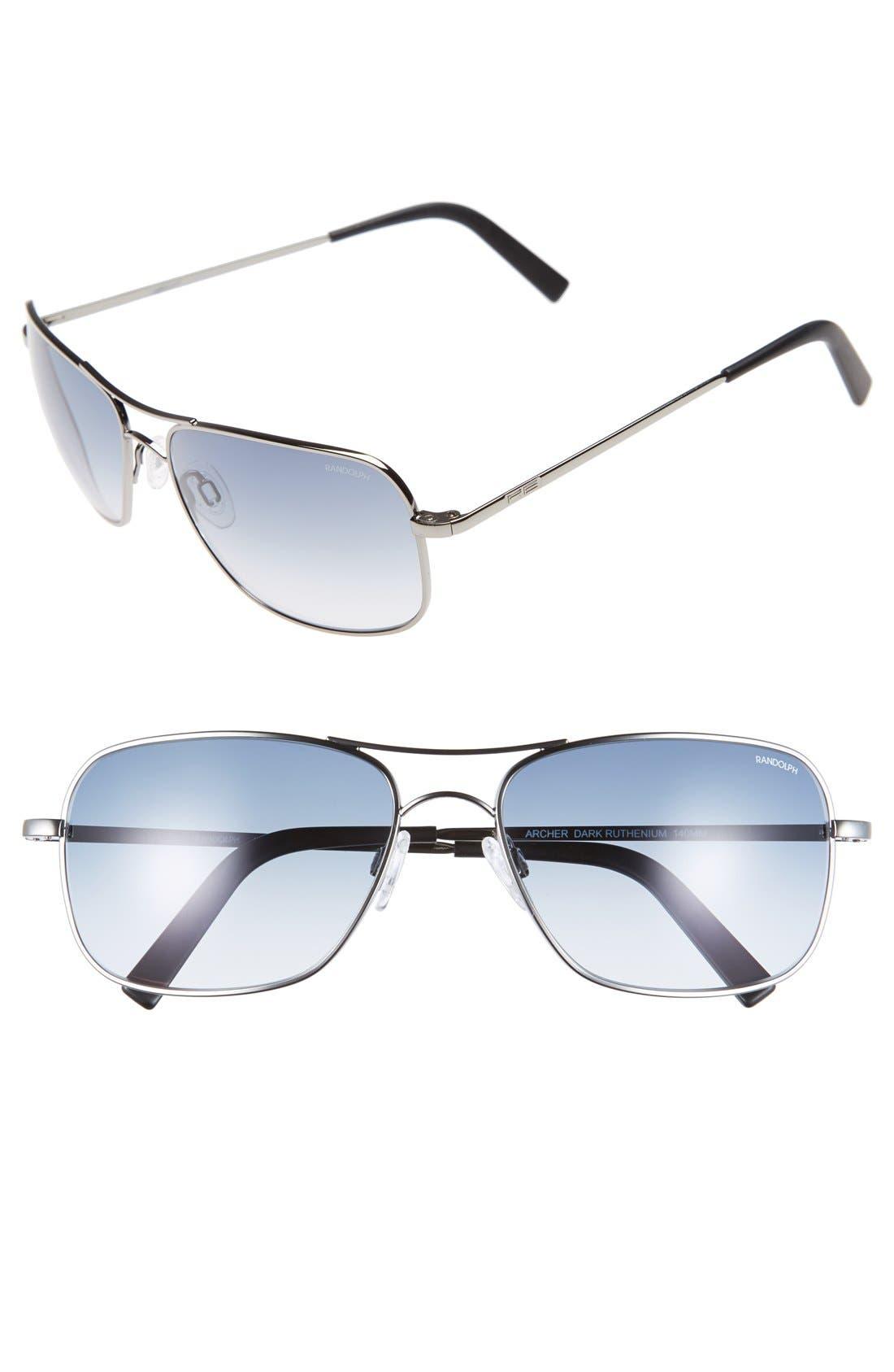 'Archer' 59mm Sunglasses,                         Main,                         color, Dark Ruthenium/ Blue Gradient