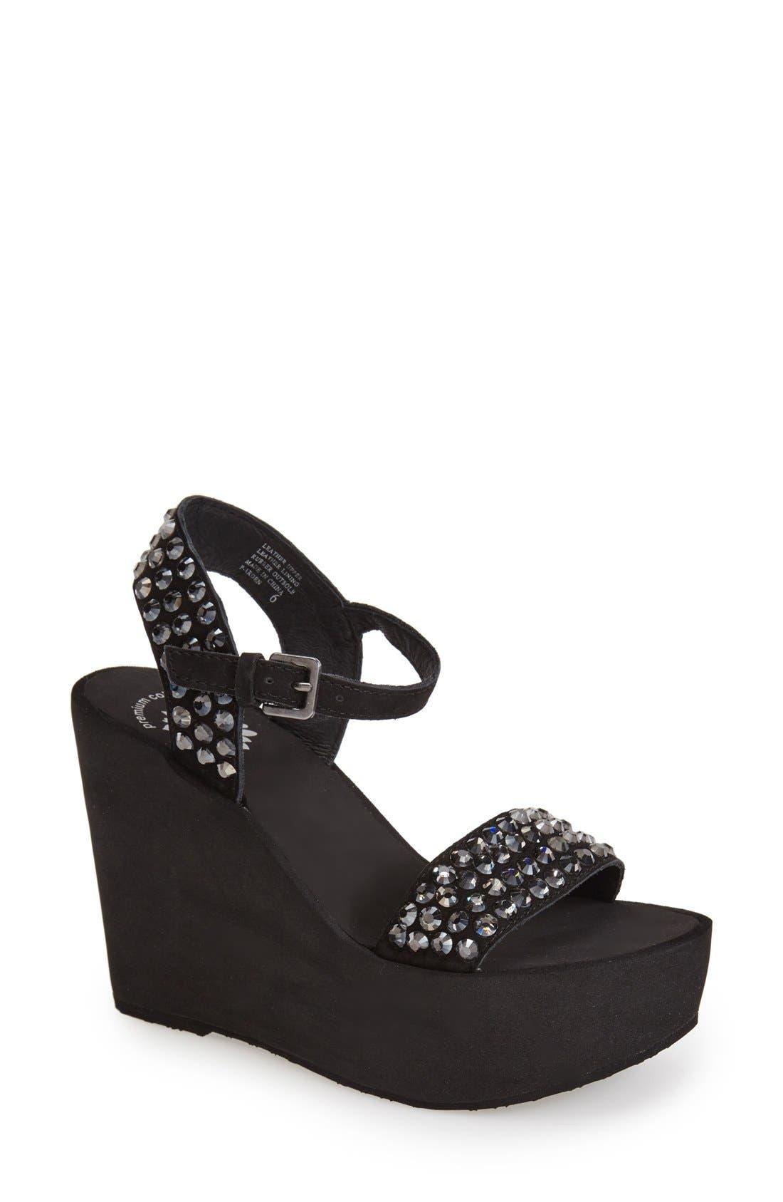 Main Image - Yellowbox 'Arden' Crystal Embellished Wedge Sandal (Women)