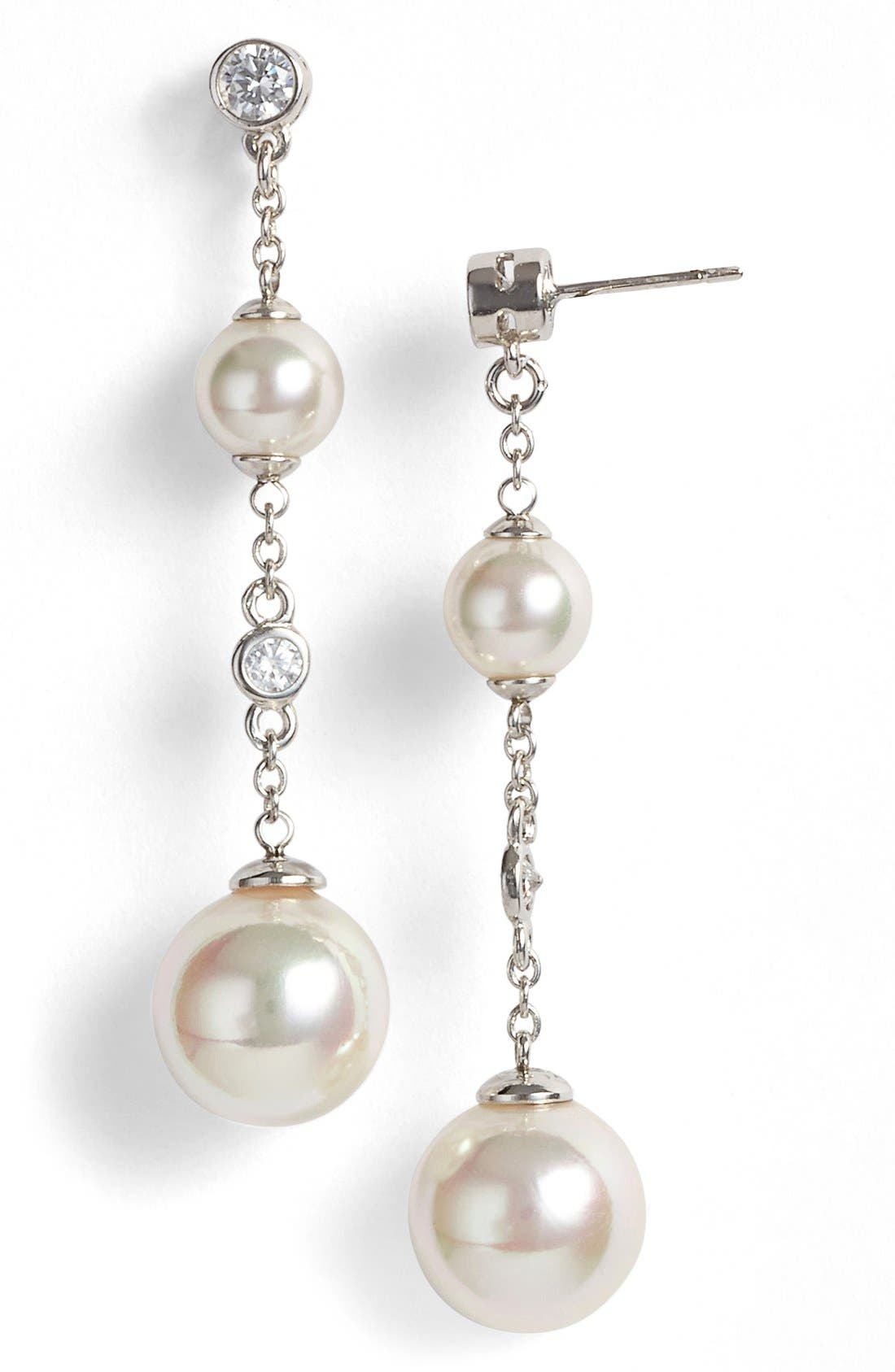 Majorica Pearl & Cubic Zirconia Linear Earrings