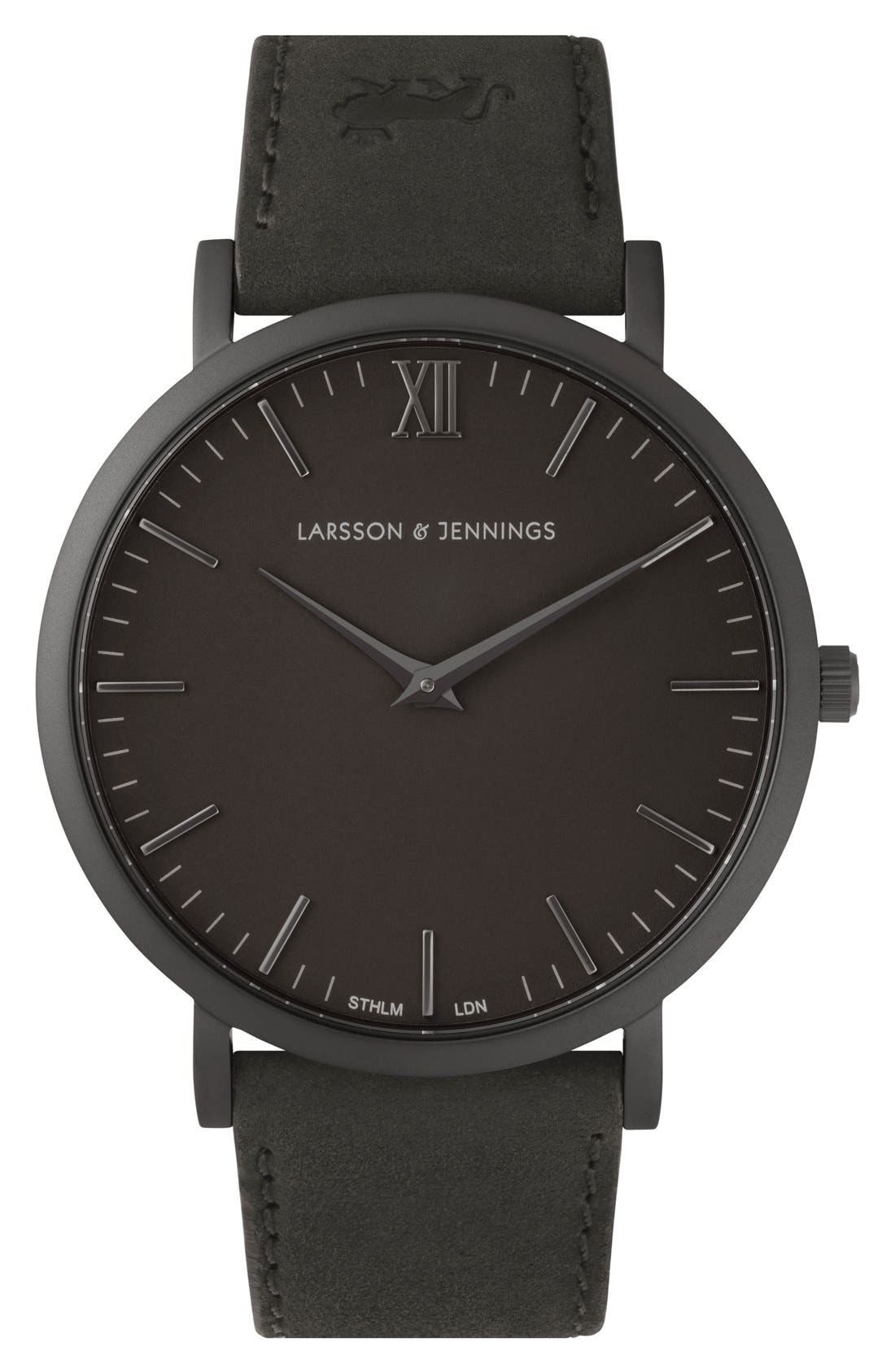 'Lugano' Leather Strap Watch, 40mm,                         Main,                         color, Black