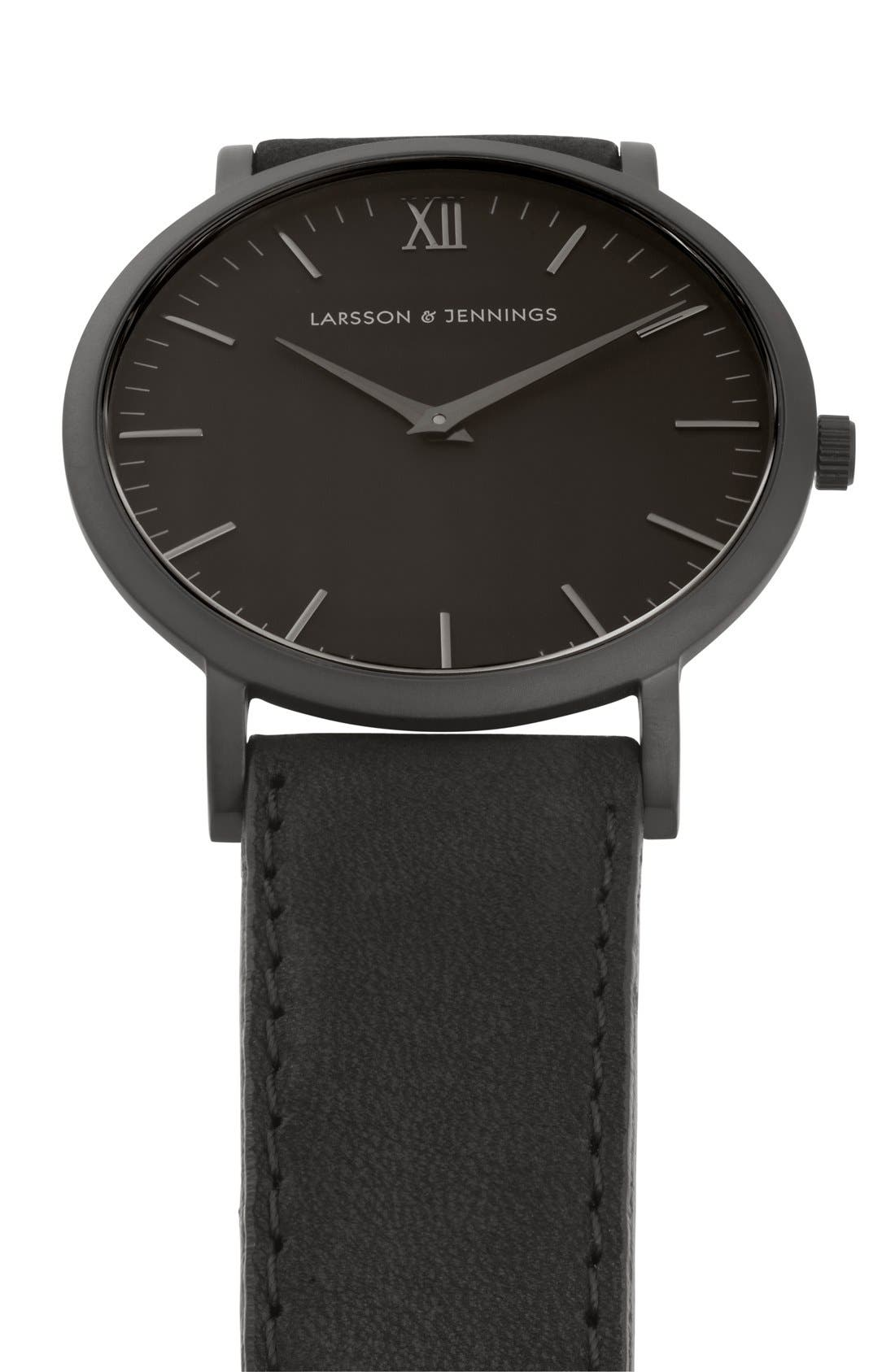 'Lugano' Leather Strap Watch, 40mm,                             Alternate thumbnail 4, color,                             Black