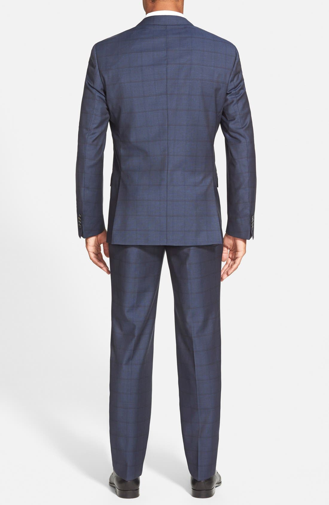 BOSS 'Hutsons/Gander' Trim Fit Check Wool Suit,                             Alternate thumbnail 2, color,                             Navy