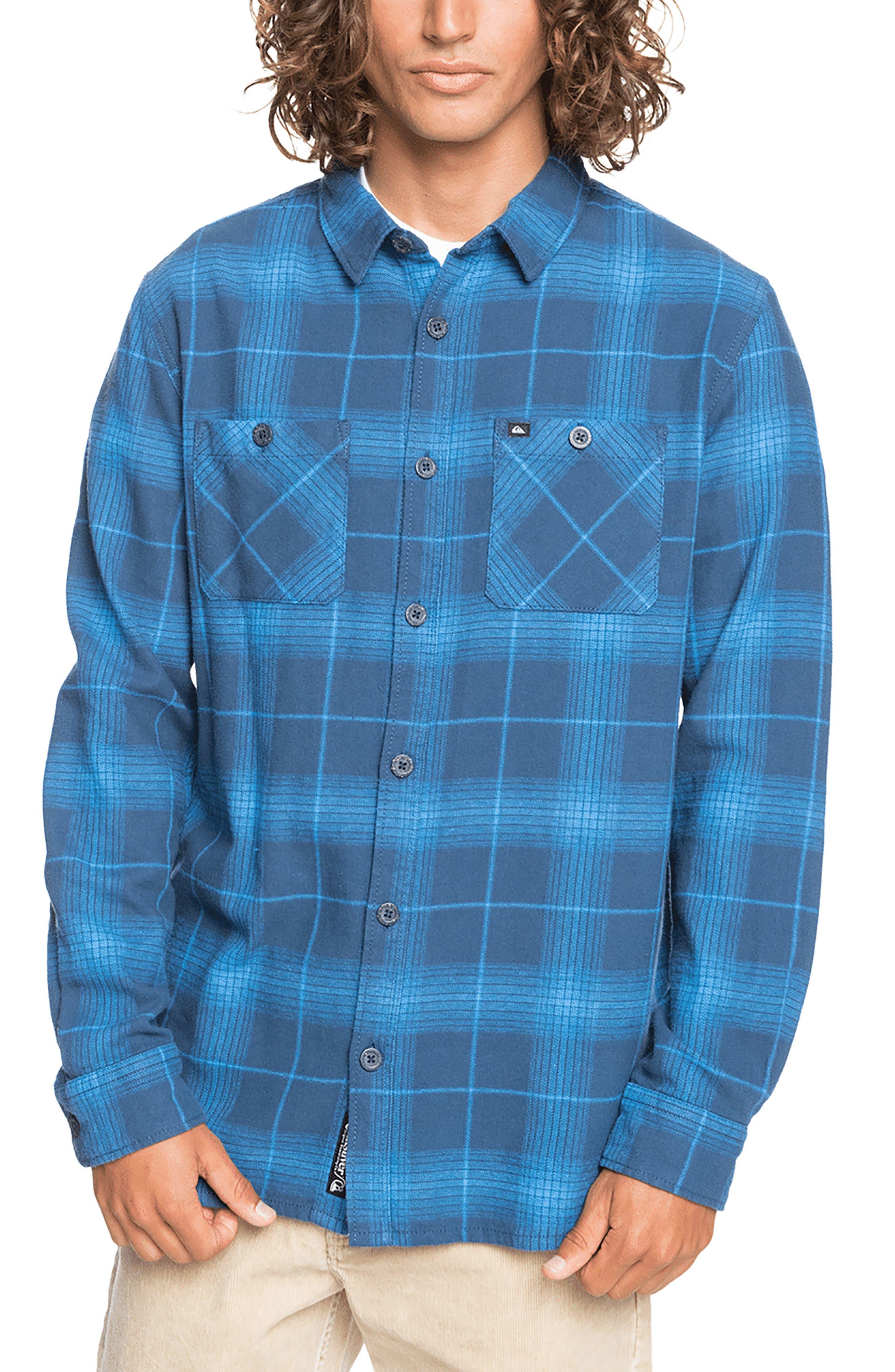 Orange Small Quiksilver Mens Flannel Button Up Shirt