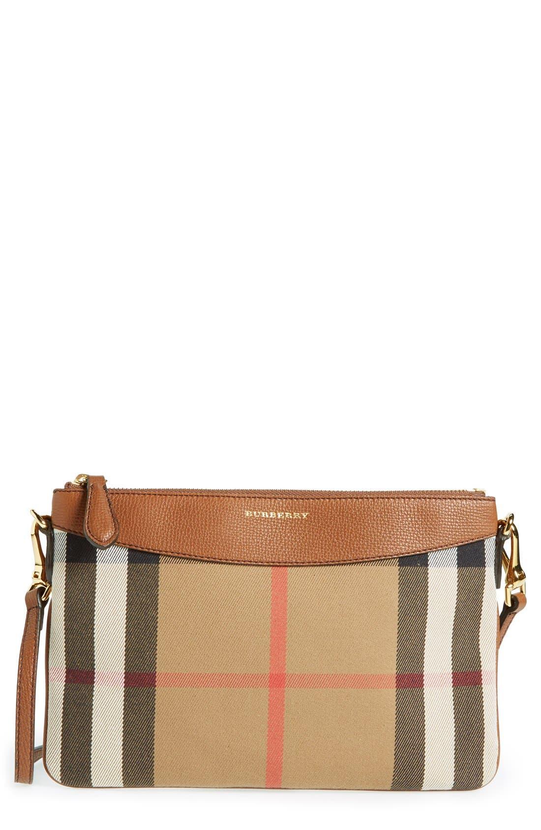 'Peyton - House Check' Crossbody Bag,                             Main thumbnail 1, color,                             Tan