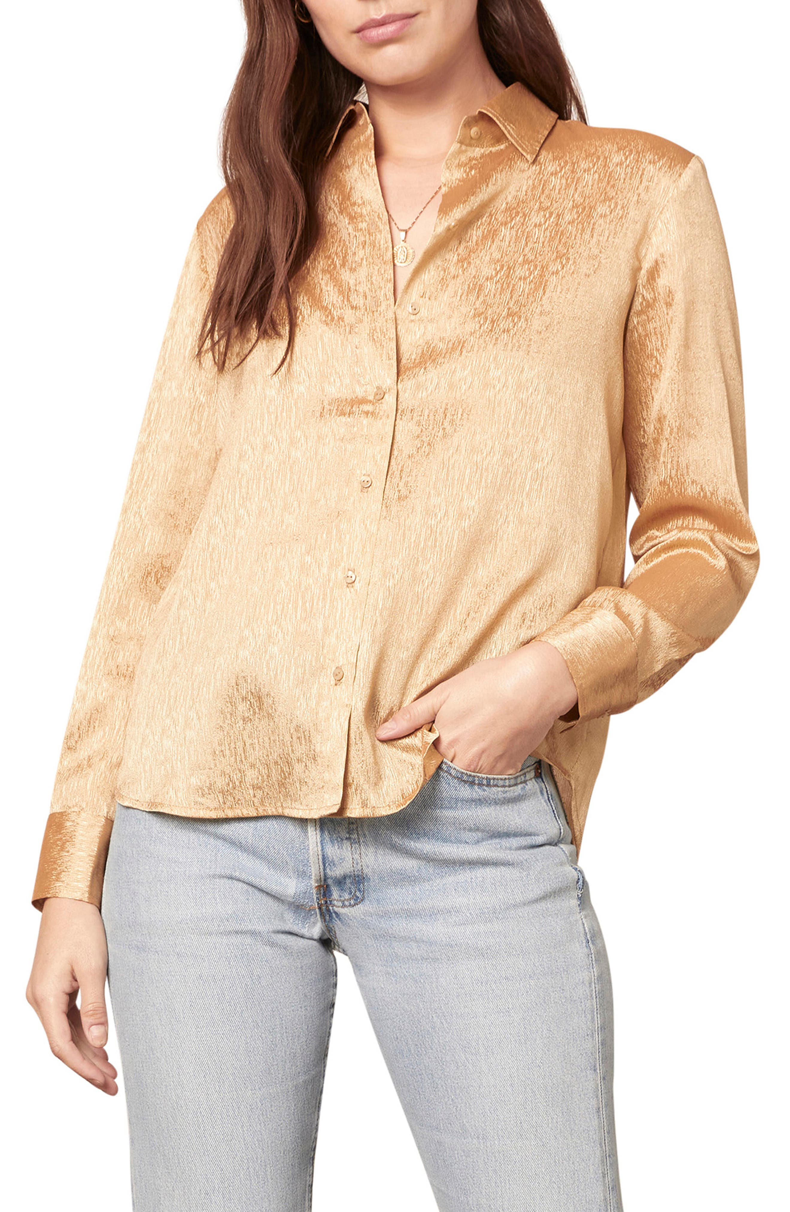 Asymmetrical Top Metallic Shirt V neck Top Unique Clothes Longsleeve Fitted Shirt Evening Tops Feminine Clothing ON SALE Gold Blouse