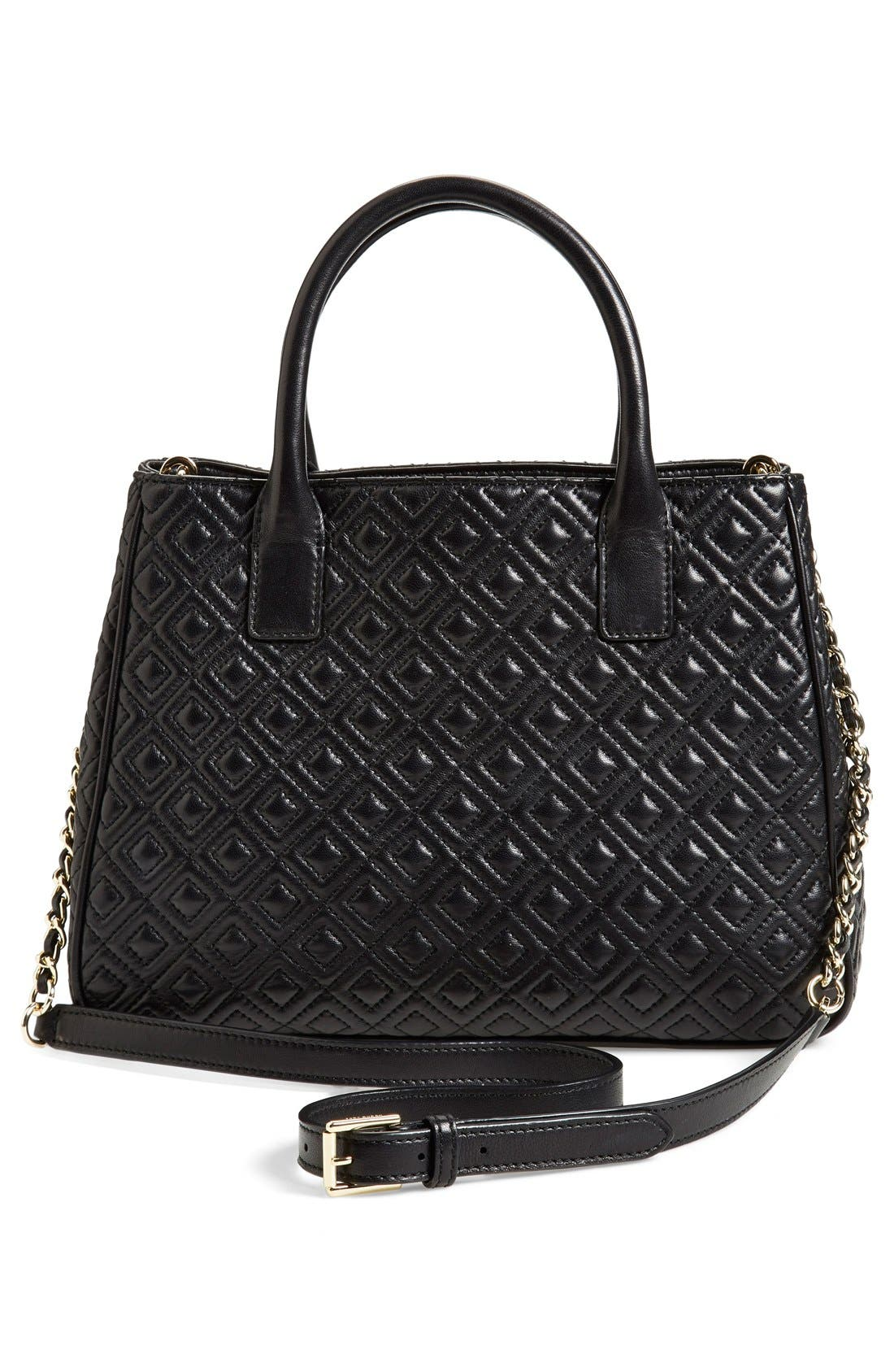 'Marion' Quilted Lambskin Tote,                             Alternate thumbnail 3, color,                             Black