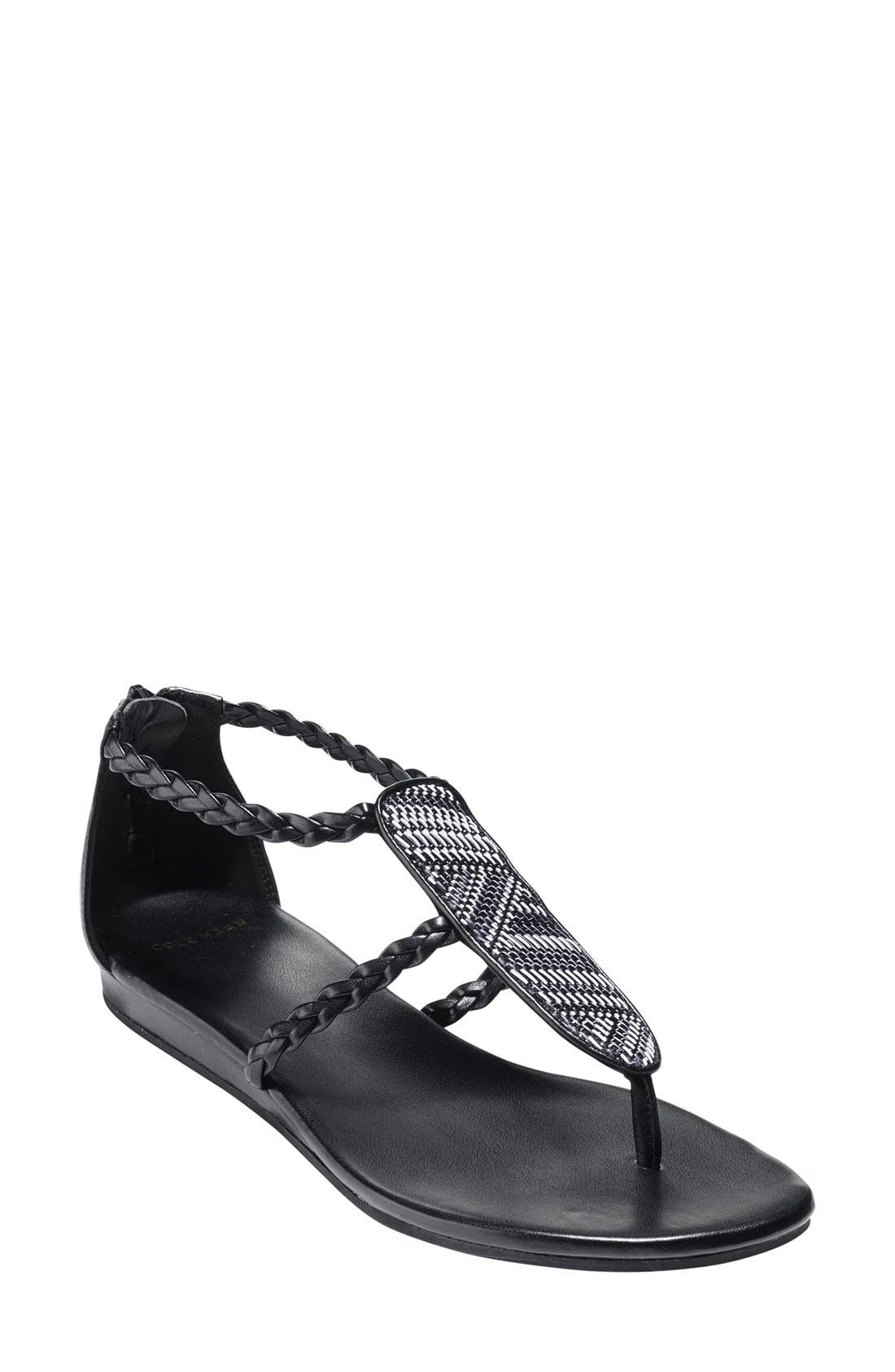 'Abbe' Sandal,                             Main thumbnail 1, color,                             Black/ White Leather