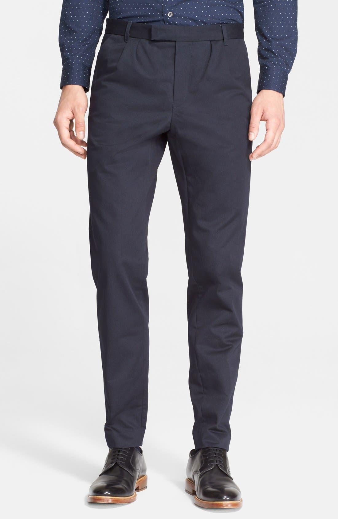 Pleated Cotton Pants,                         Main,                         color, Dark Navy