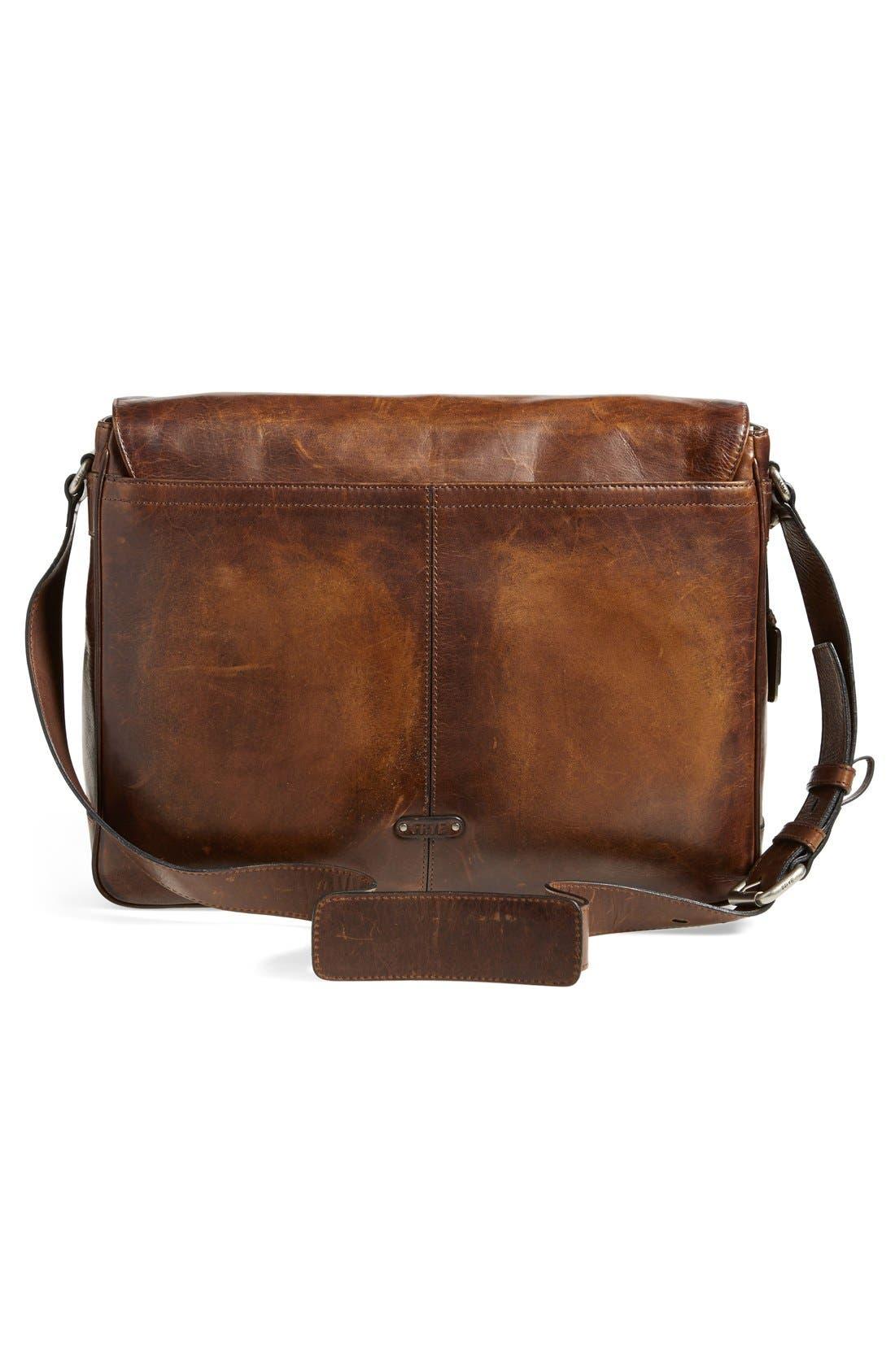 'Oliver' Leather Messenger Bag,                             Alternate thumbnail 3, color,                             Dark Brown