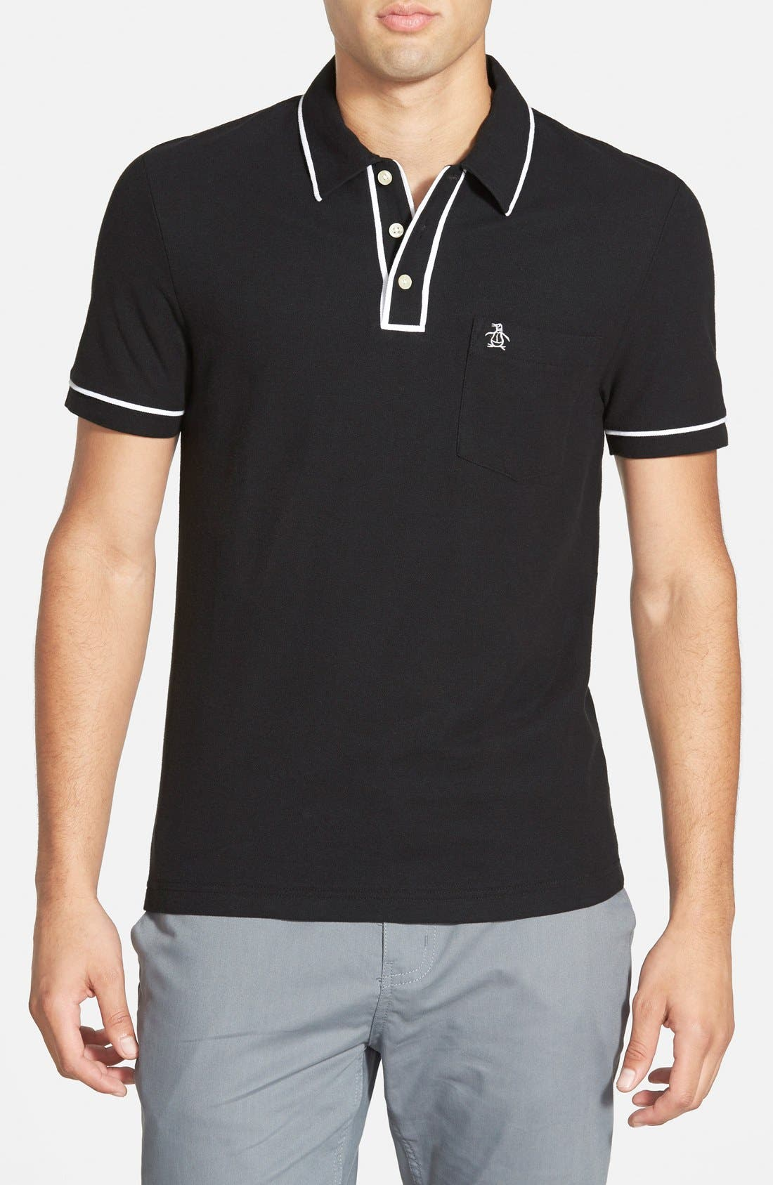 'Earl' Piqué Polo,                         Main,                         color, Caviar