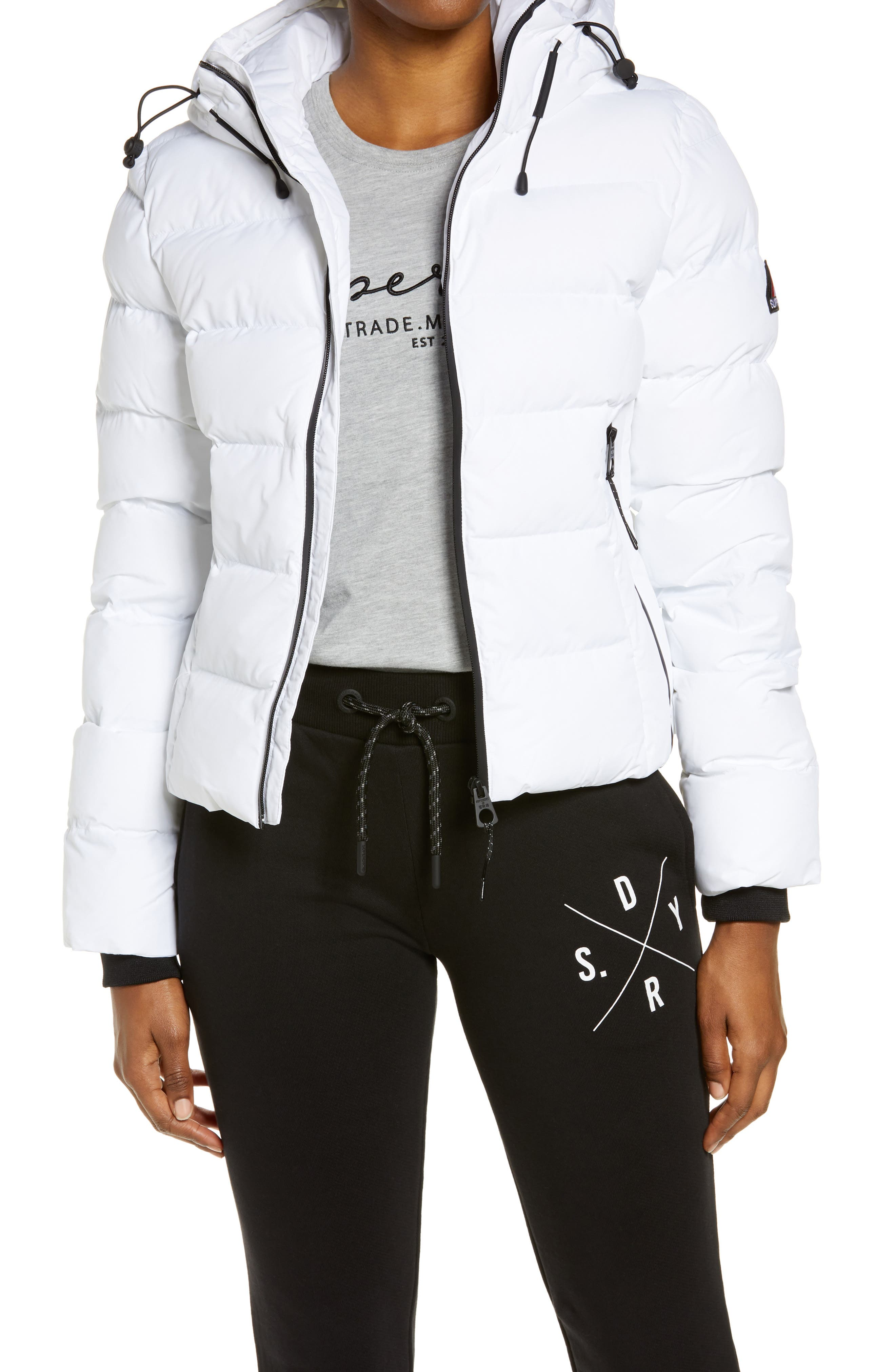 White Wool /& Feather Hooded Jacket