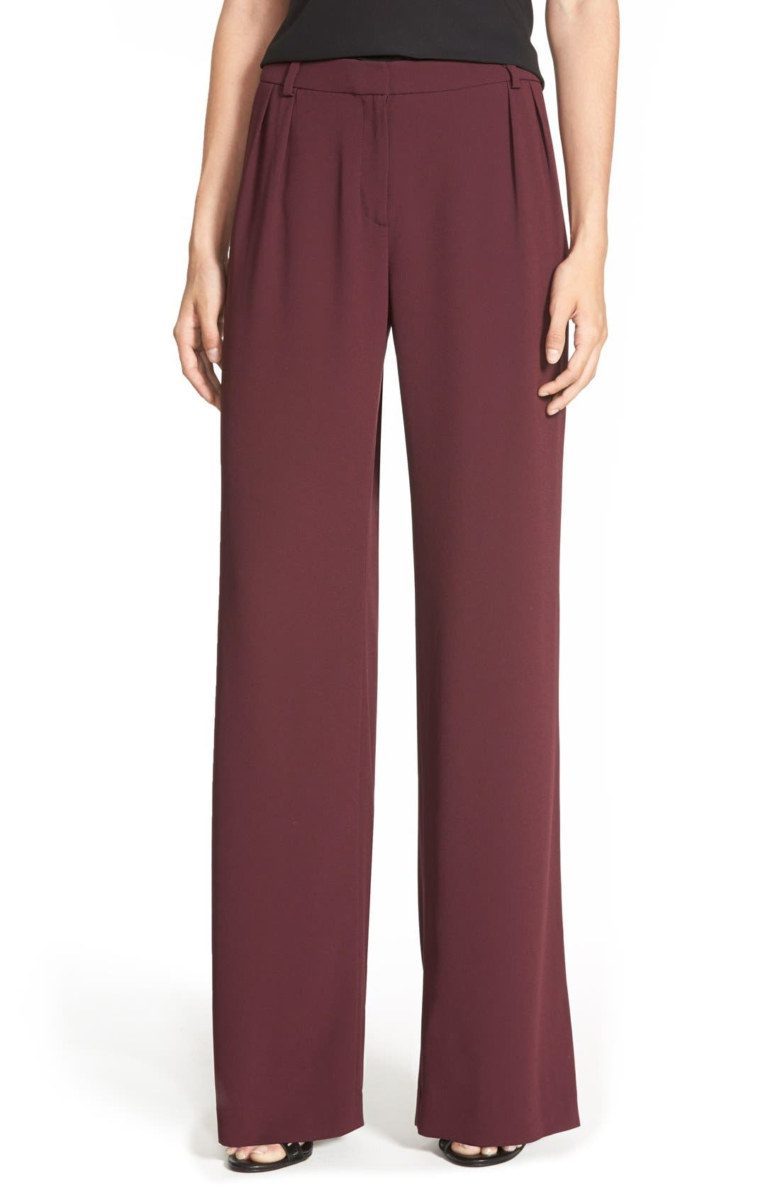 Pleated Wide Leg Pants,                         Main,                         color, Burgundy Stem