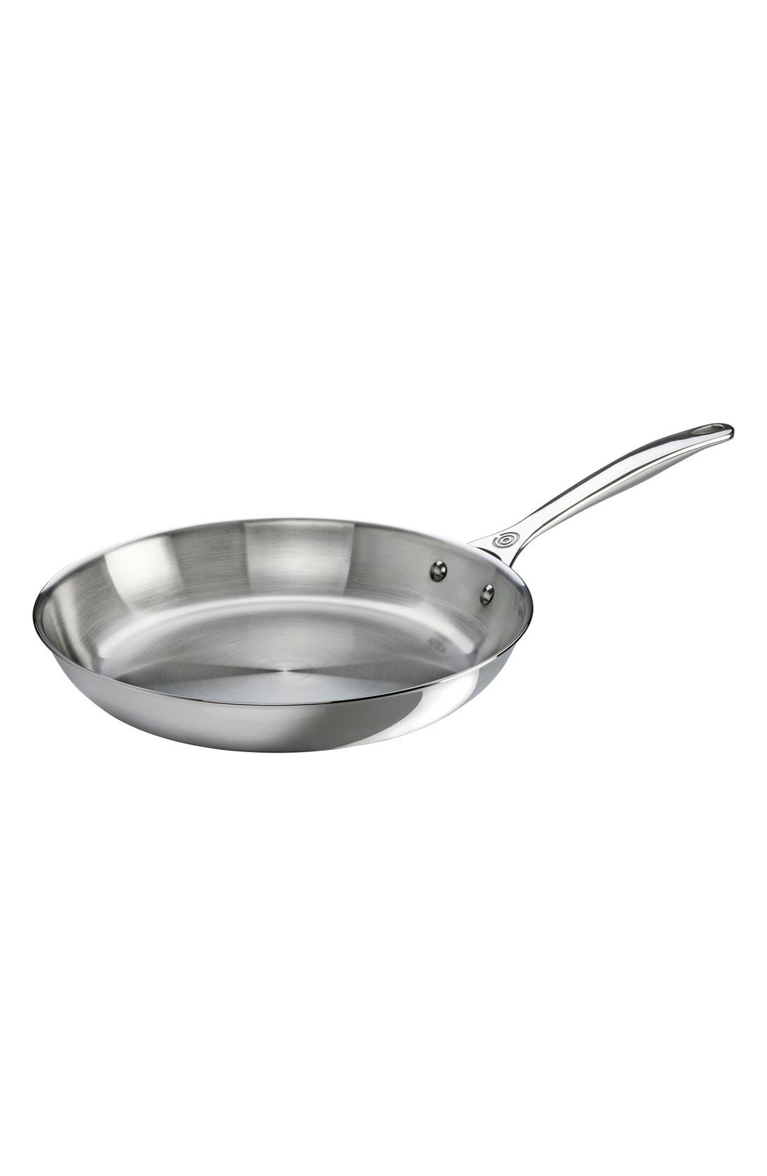 12 Inch Stainless Steel Fry Pan,                             Main thumbnail 1, color,                             Silver