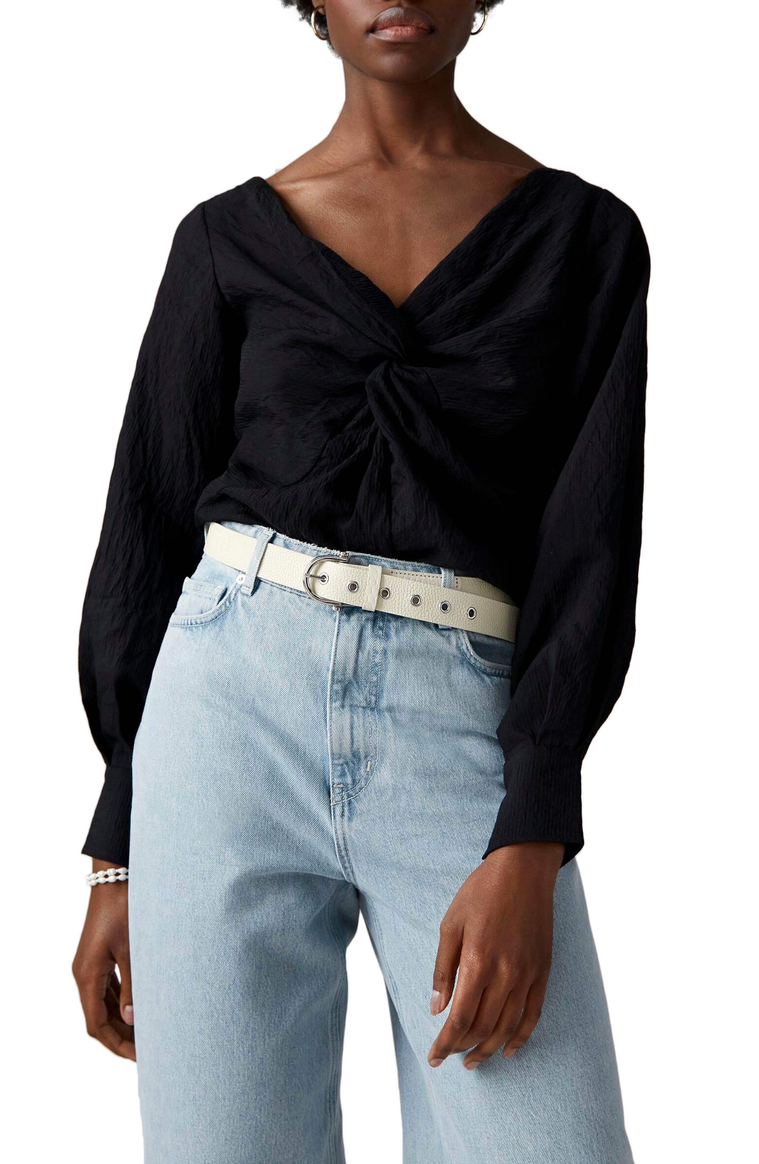 Scotch /& Soda Wraover Top with Smocked Cuff Blusa para Mujer