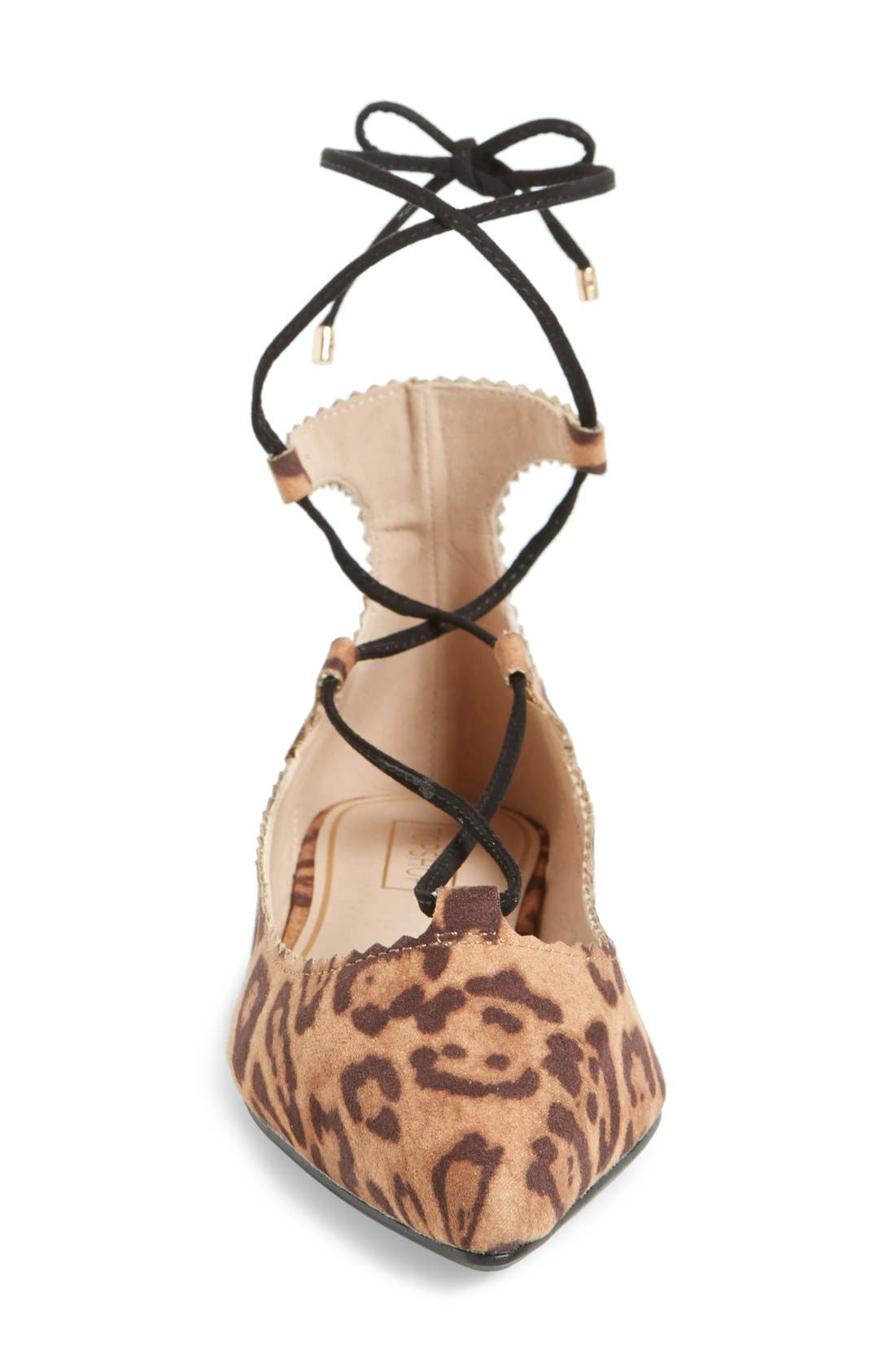 'Finest' Pointy Toe Ghillie Flat,                             Alternate thumbnail 3, color,                             Brown Multi