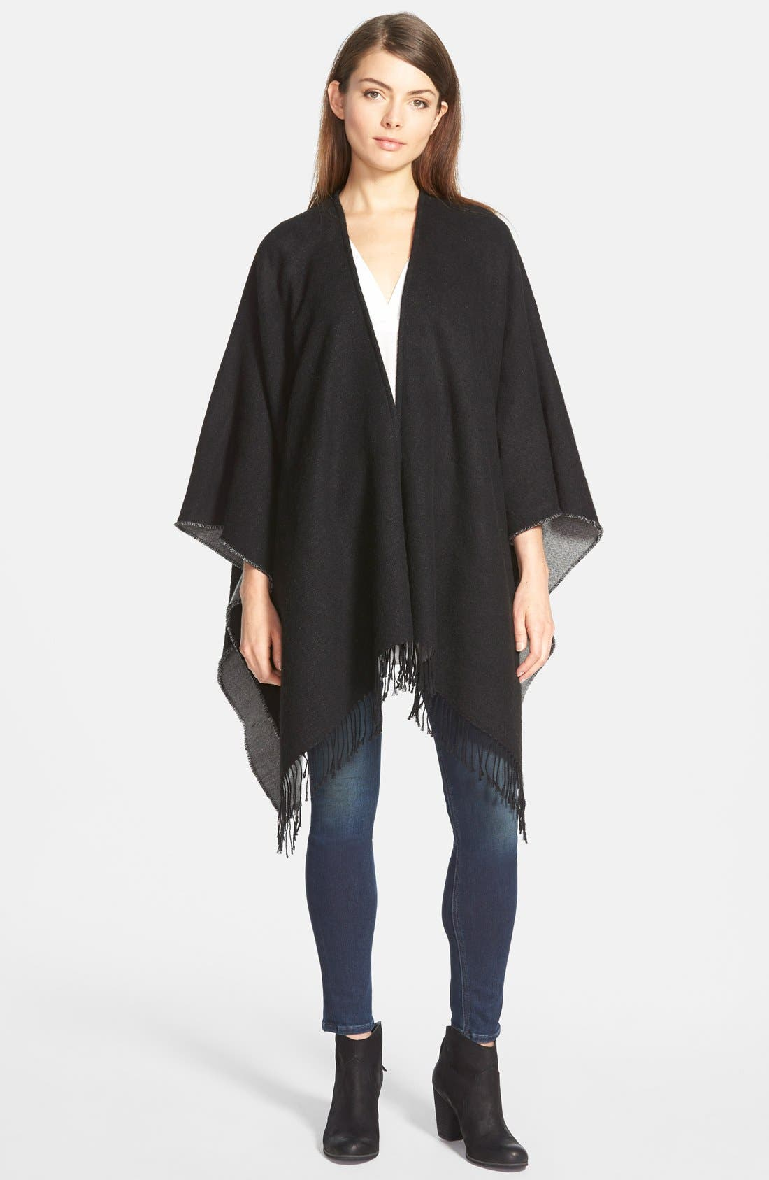 Alternate Image 1 Selected - Nordstrom Reversible Cape with Fringe